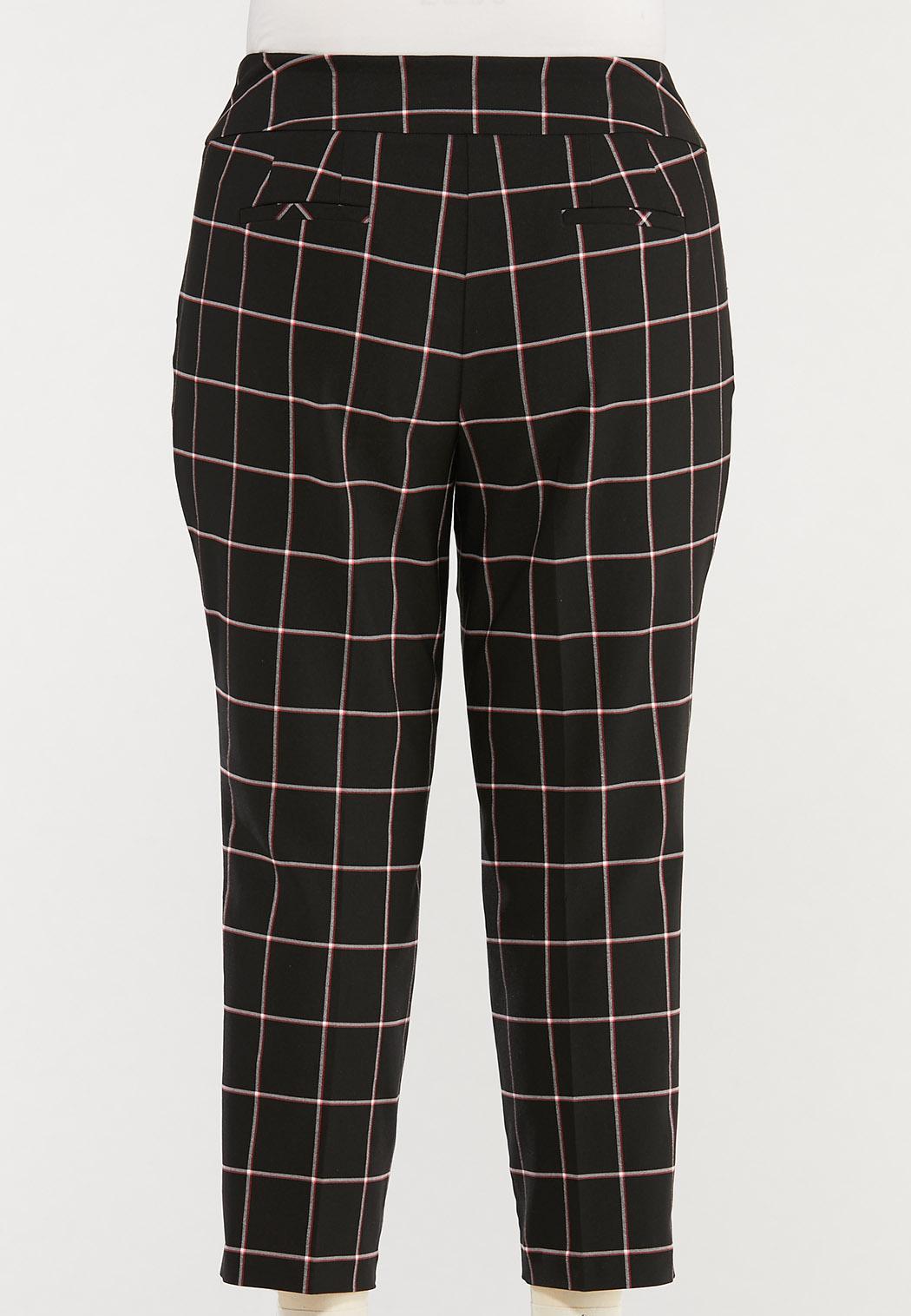 Plus Size Windowpane Bengaline Pants (Item #44476118)