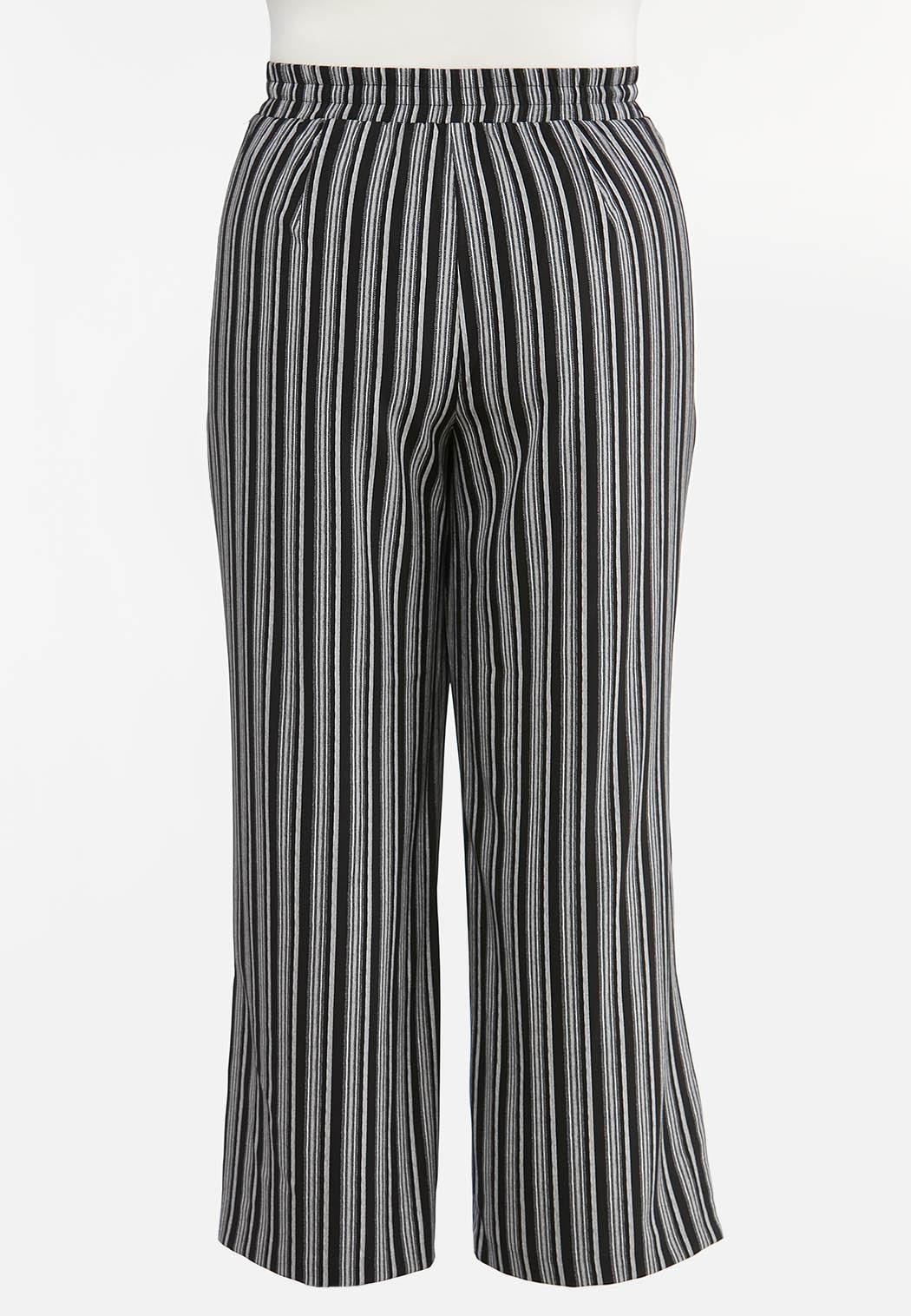 Plus Size Stripe Wide Leg Pants (Item #44476185)