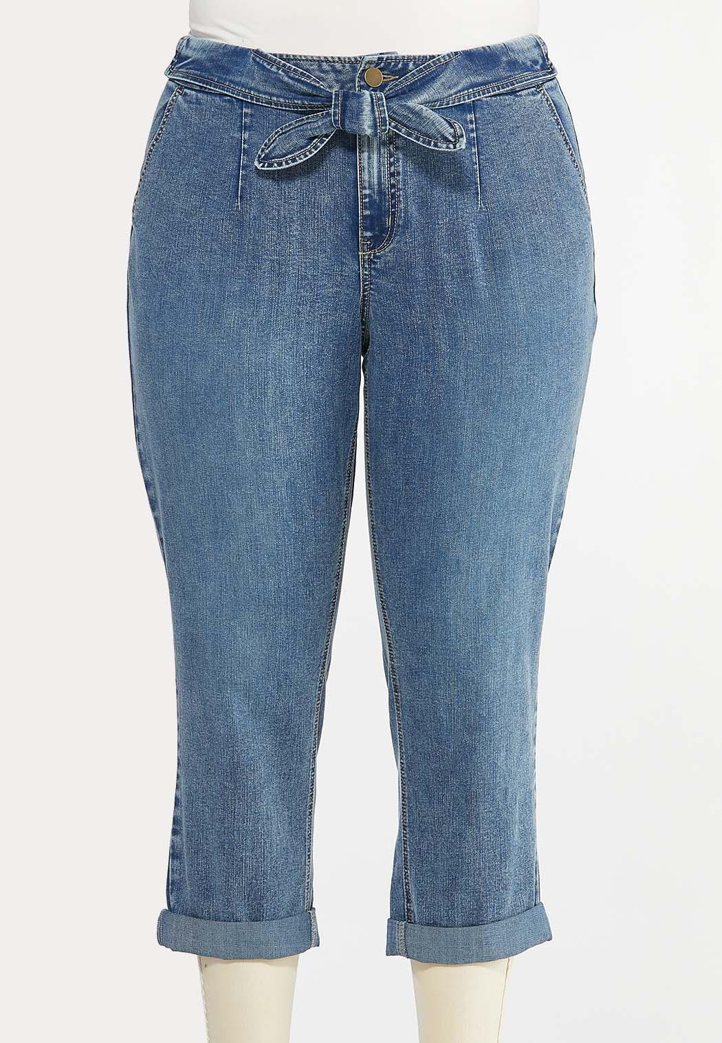 Plus Size Cropped Tie Waist Jeans (Item #44476405)