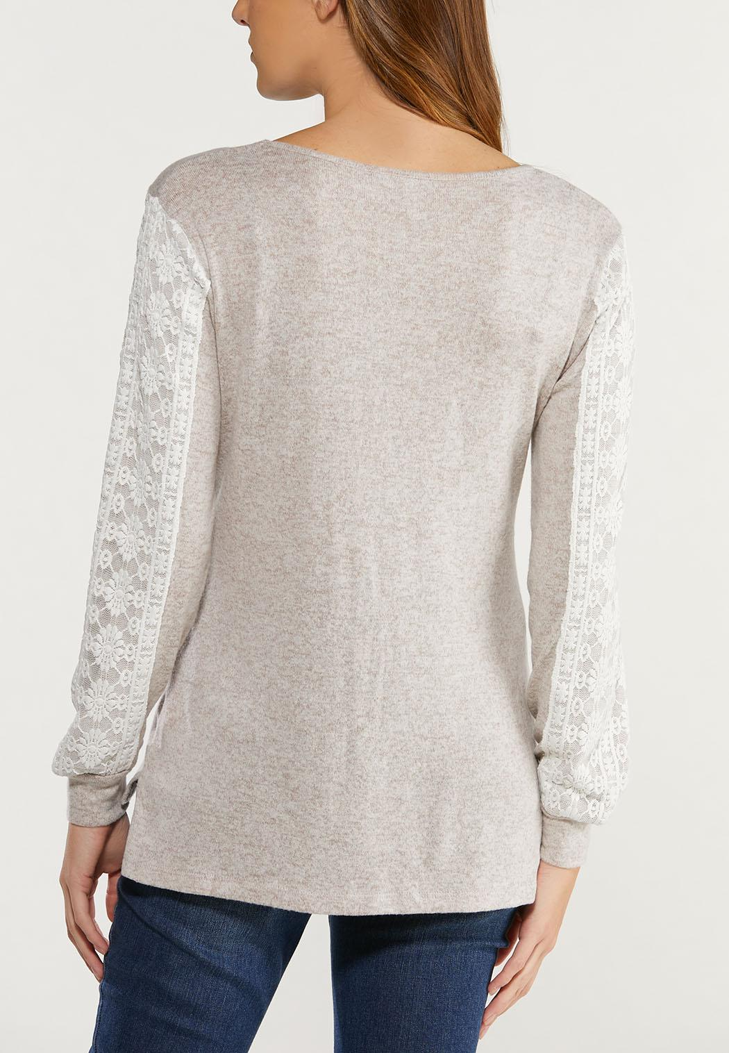 Plus Size Oatmeal Lace Sleeve Top (Item #44476922)