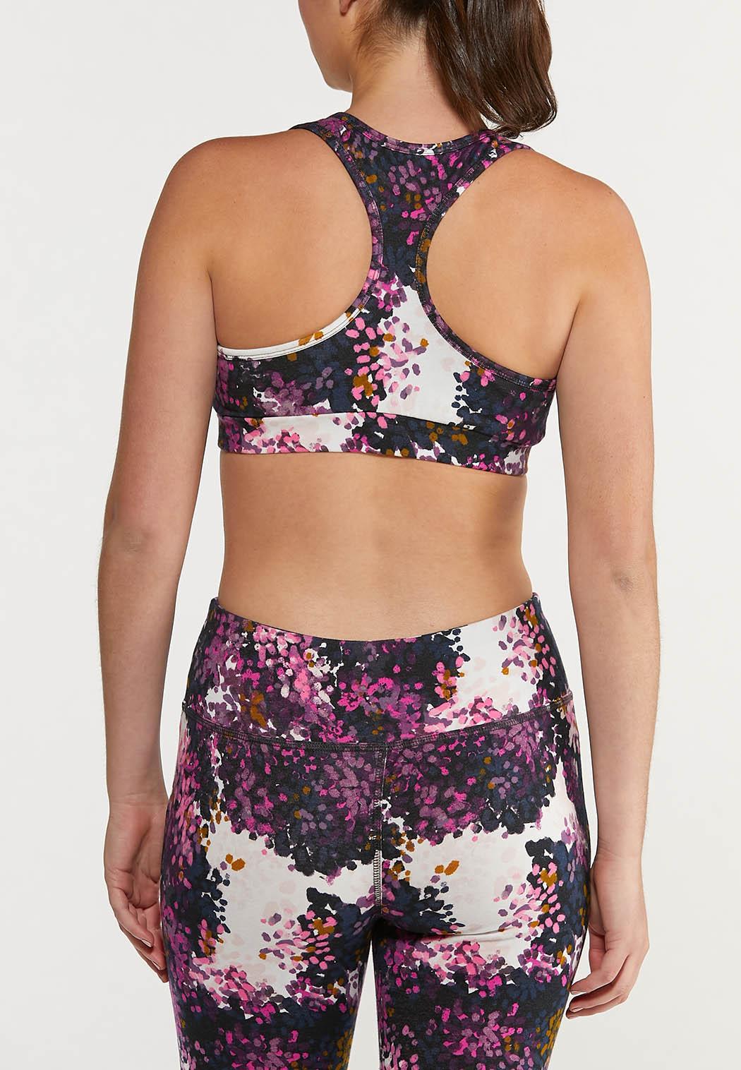 Plus Size Grape Floral Sports Bra (Item #44477001)