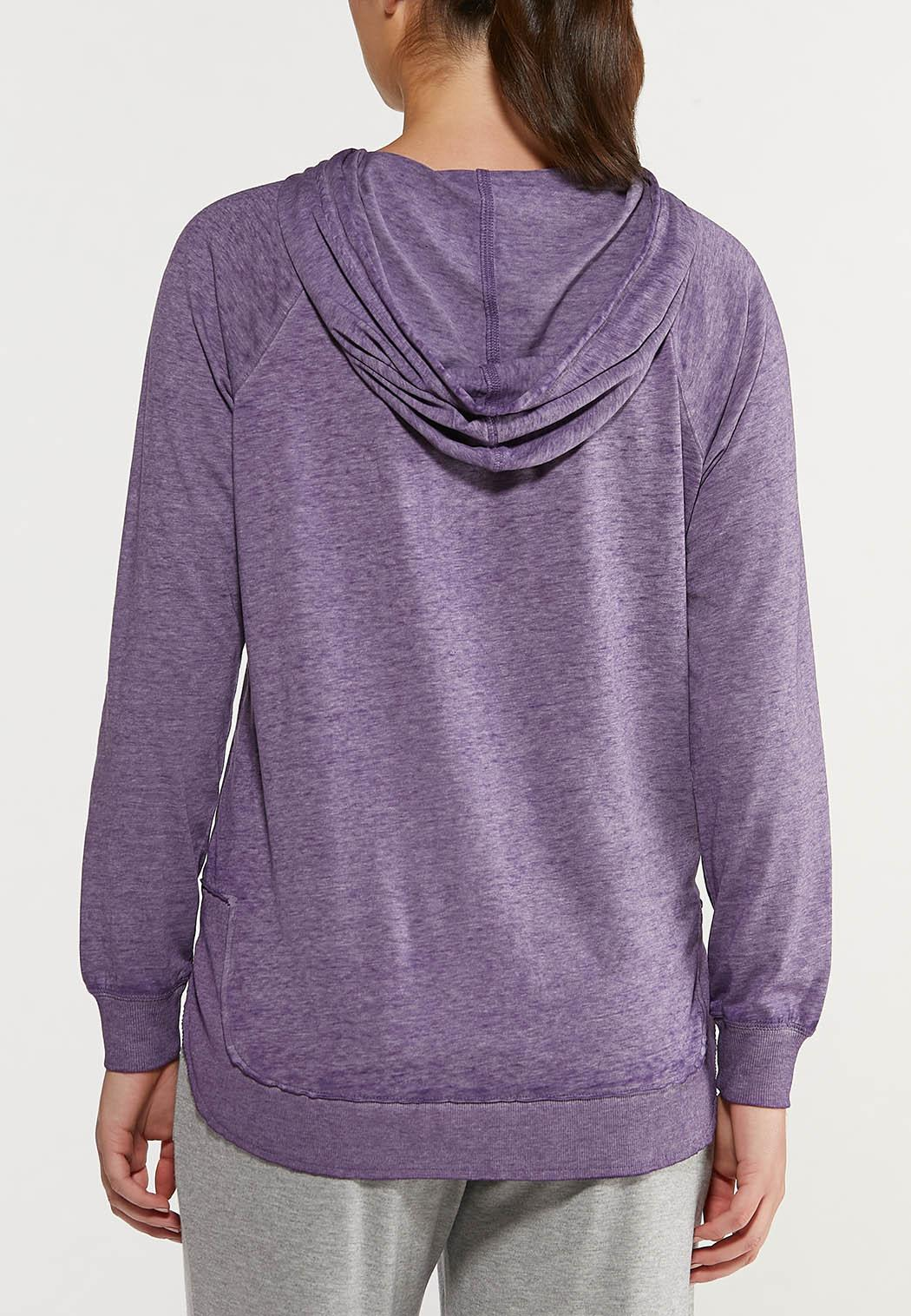 Plus Size Purple Faded Wash Hoodie (Item #44477160)