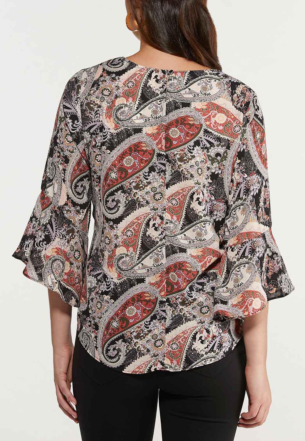 Plus Size Paisley Bell Sleeve Top (Item #44479029)
