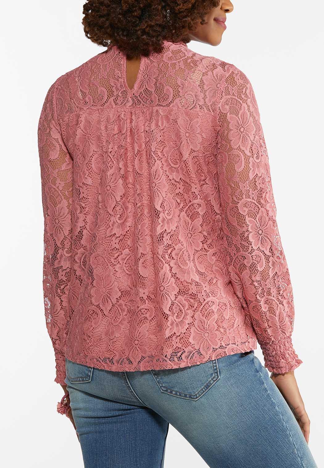 Blushing Lace Mock Neck Top (Item #44479760)
