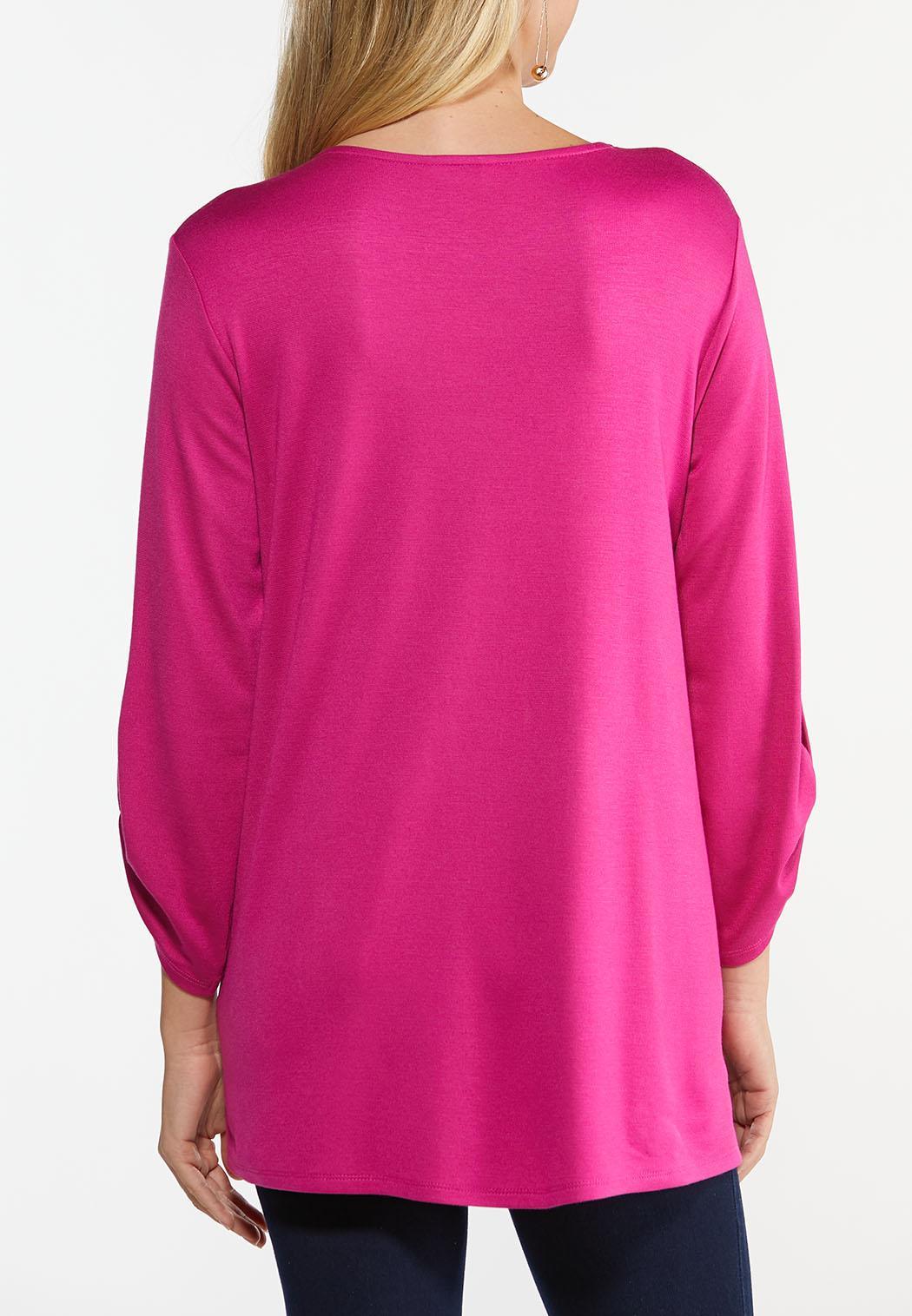 Plus Size Fuschia Lace Up Tunic (Item #44480298)