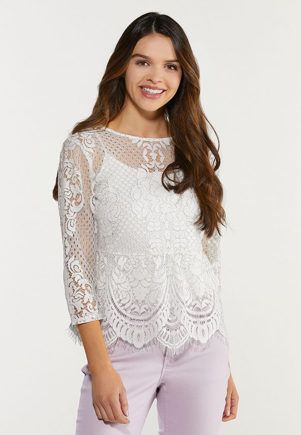 Plus Size Scalloped Lace Top (Item #44480336)