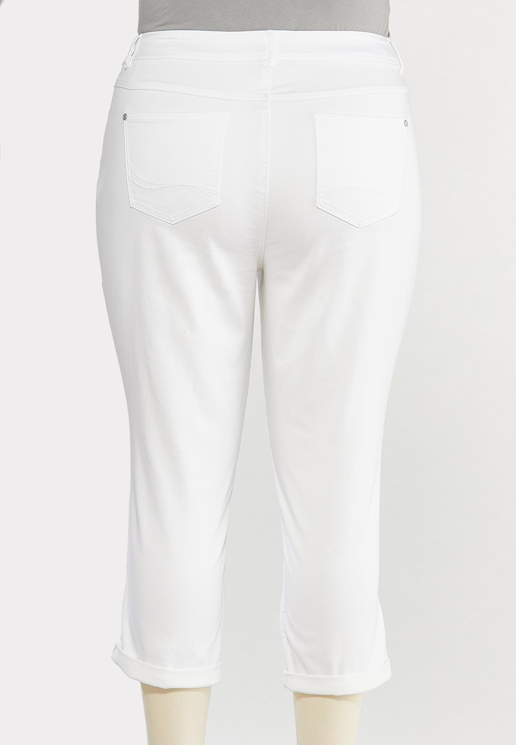 Plus Size Cropped White Jeans (Item #44480381)
