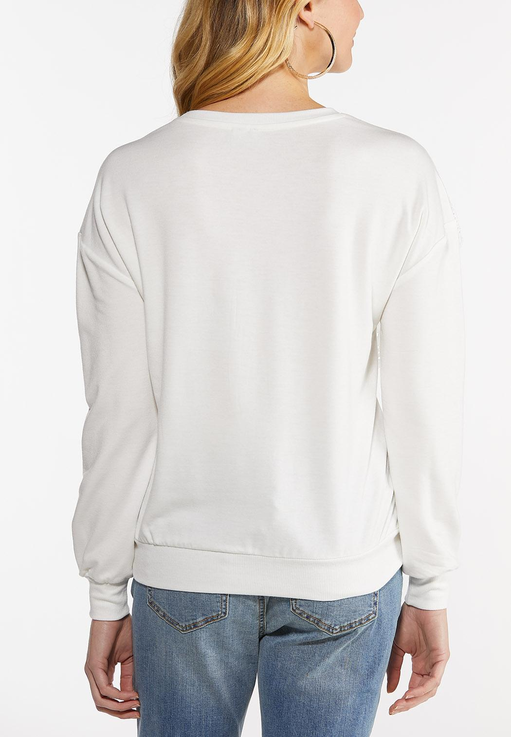Eyelet Lace Trim Sweatshirt (Item #44481606)