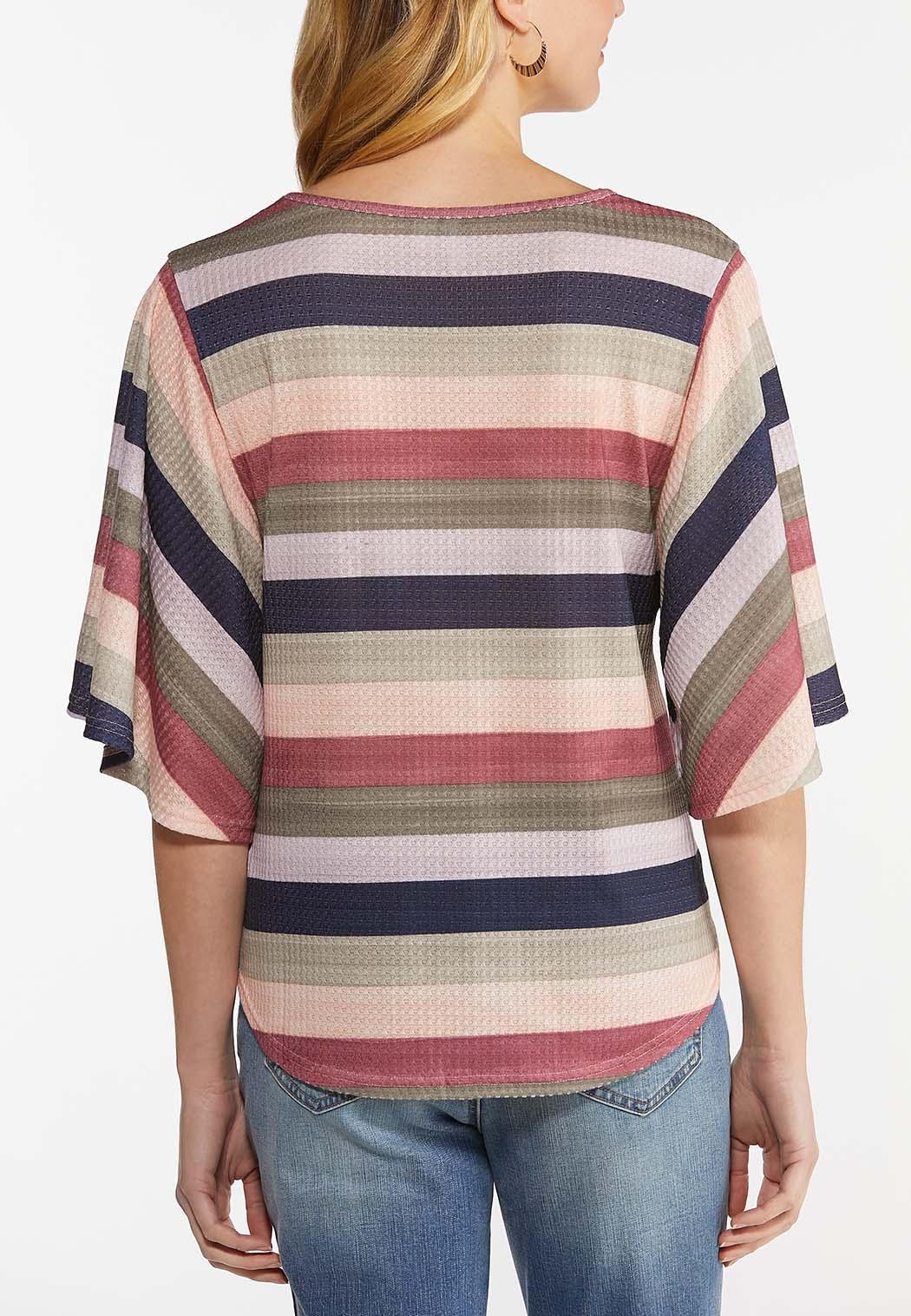 Striped Flutter Sleeve Top (Item #44482174)