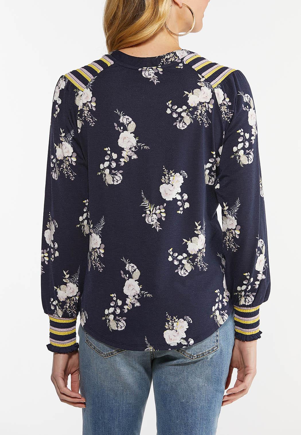 Plus Size Tasseled Floral Top (Item #44482383)
