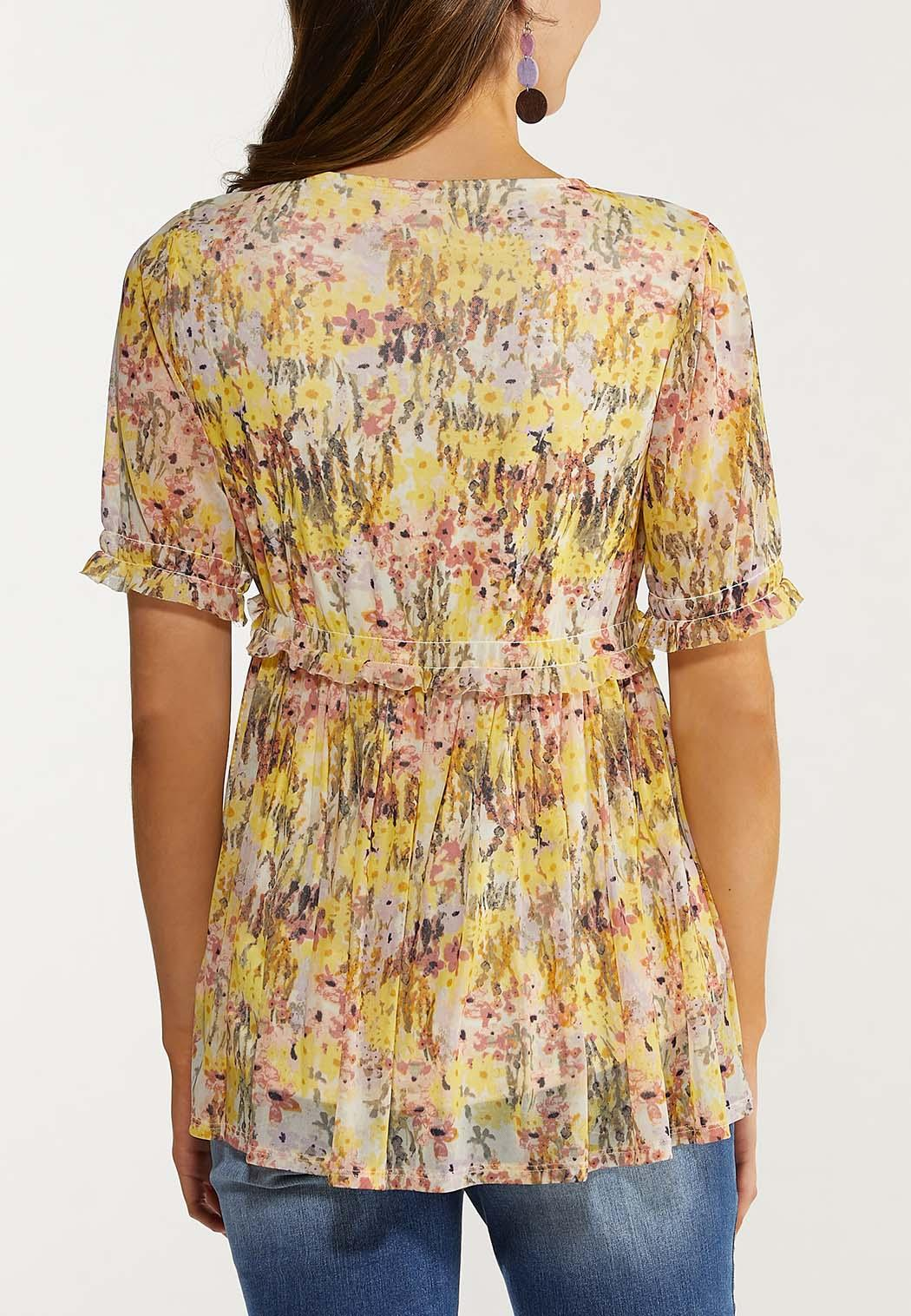 Plus Size Floral Mesh Babydoll Top (Item #44482493)