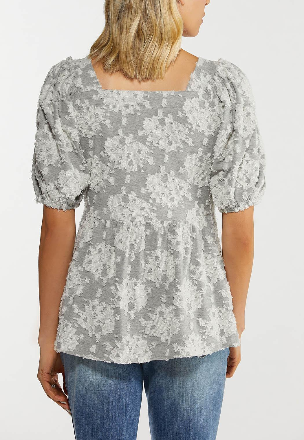 Plus Size Textured Puff Sleeve Top (Item #44482647)