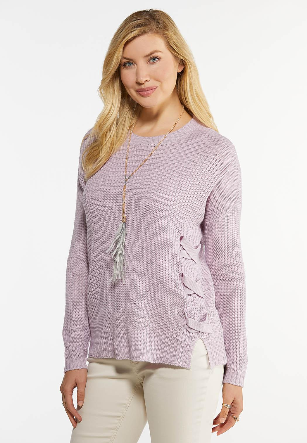 Lavender Lace Up Sweater (Item #44482881)