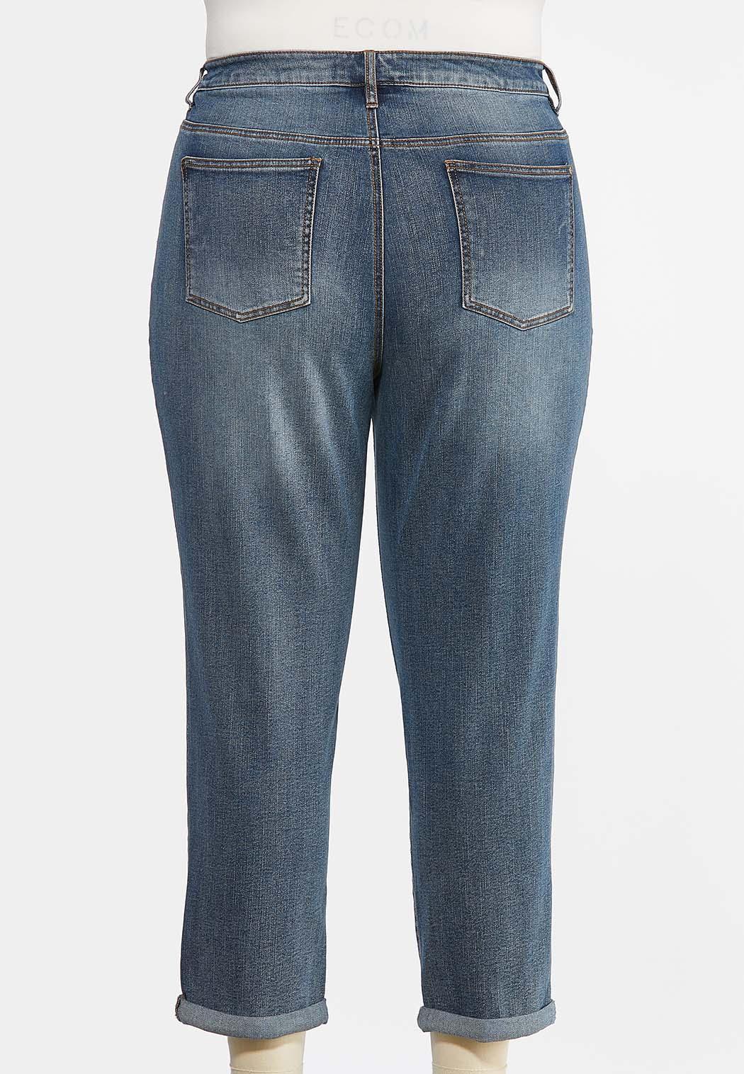 Plus Size Distressed Colored Stitch Jeans (Item #44484357)