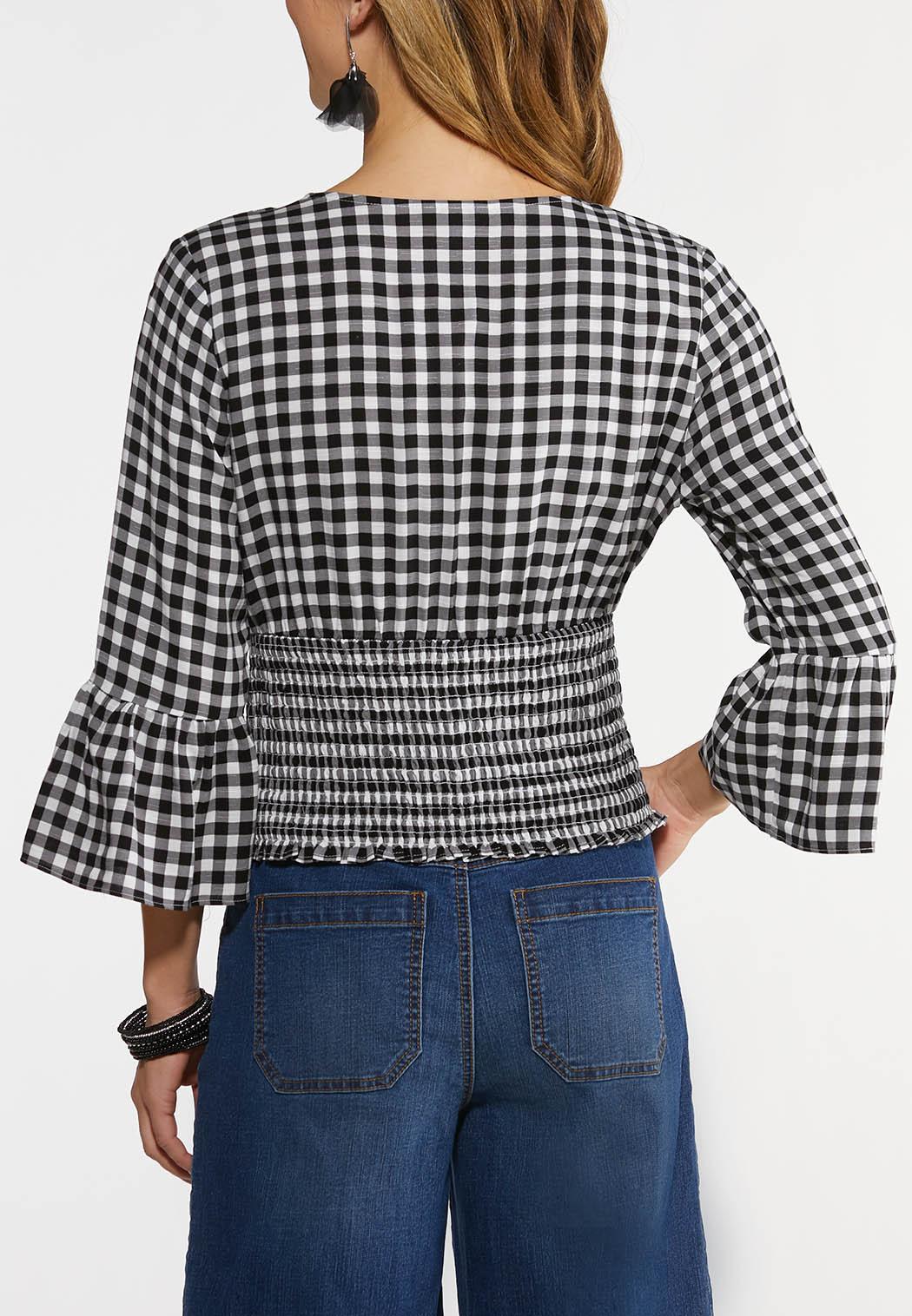 Plus Size Gingham Smocked Top (Item #44485592)
