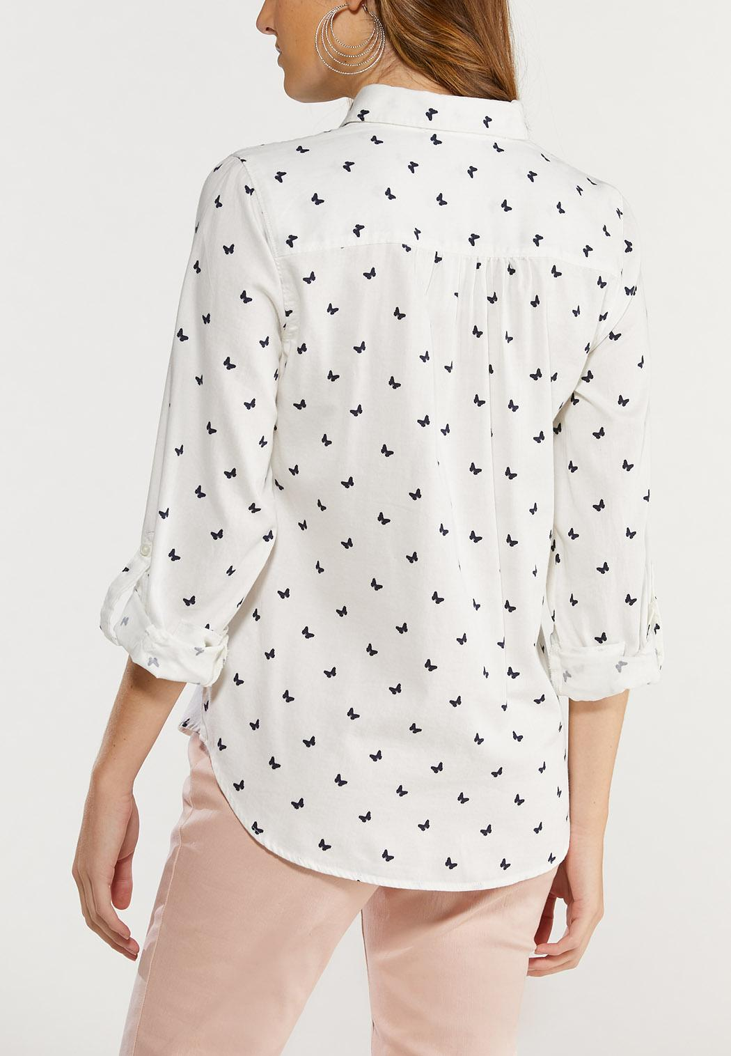 Plus Size Butterfly Print Top (Item #44485671)