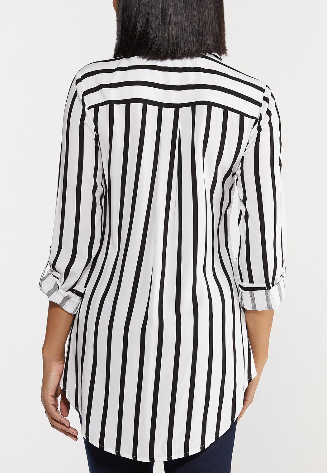 Plus Size Modern Stripe High-Low Top (Item #44485738)