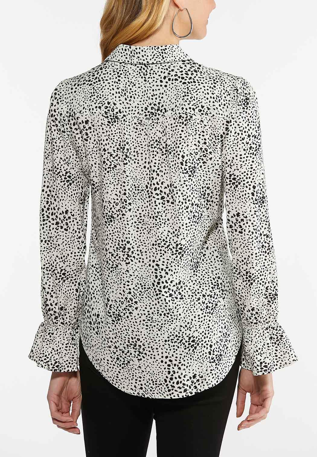 Plus Size Spotted High-Low Top (Item #44485847)