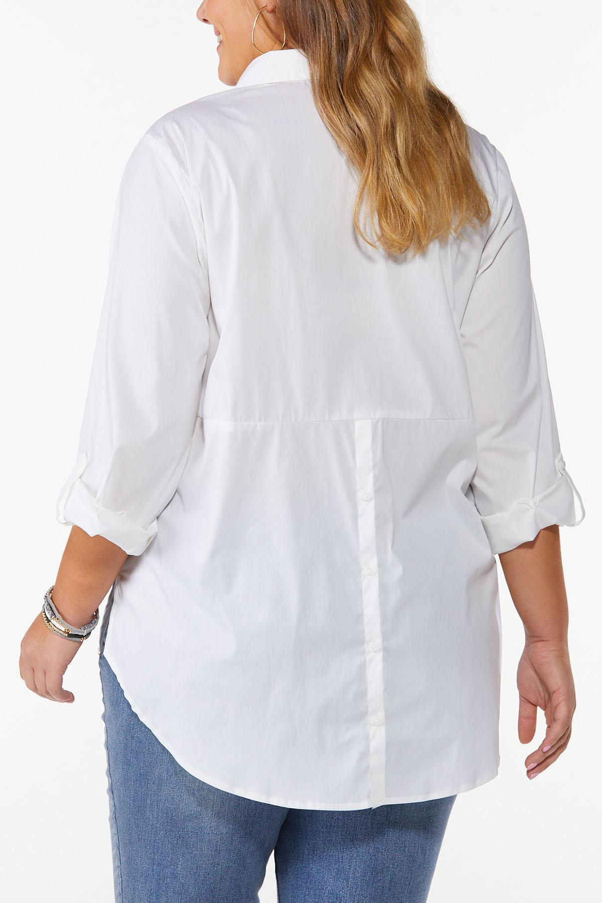 Plus Size White Button Down Tunic (Item #44486160)