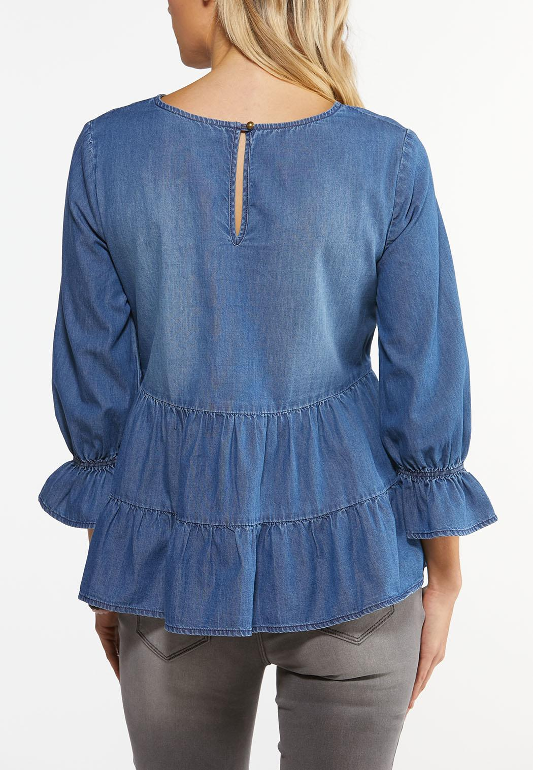 Plus Size Tiered Chambray Top (Item #44486510)
