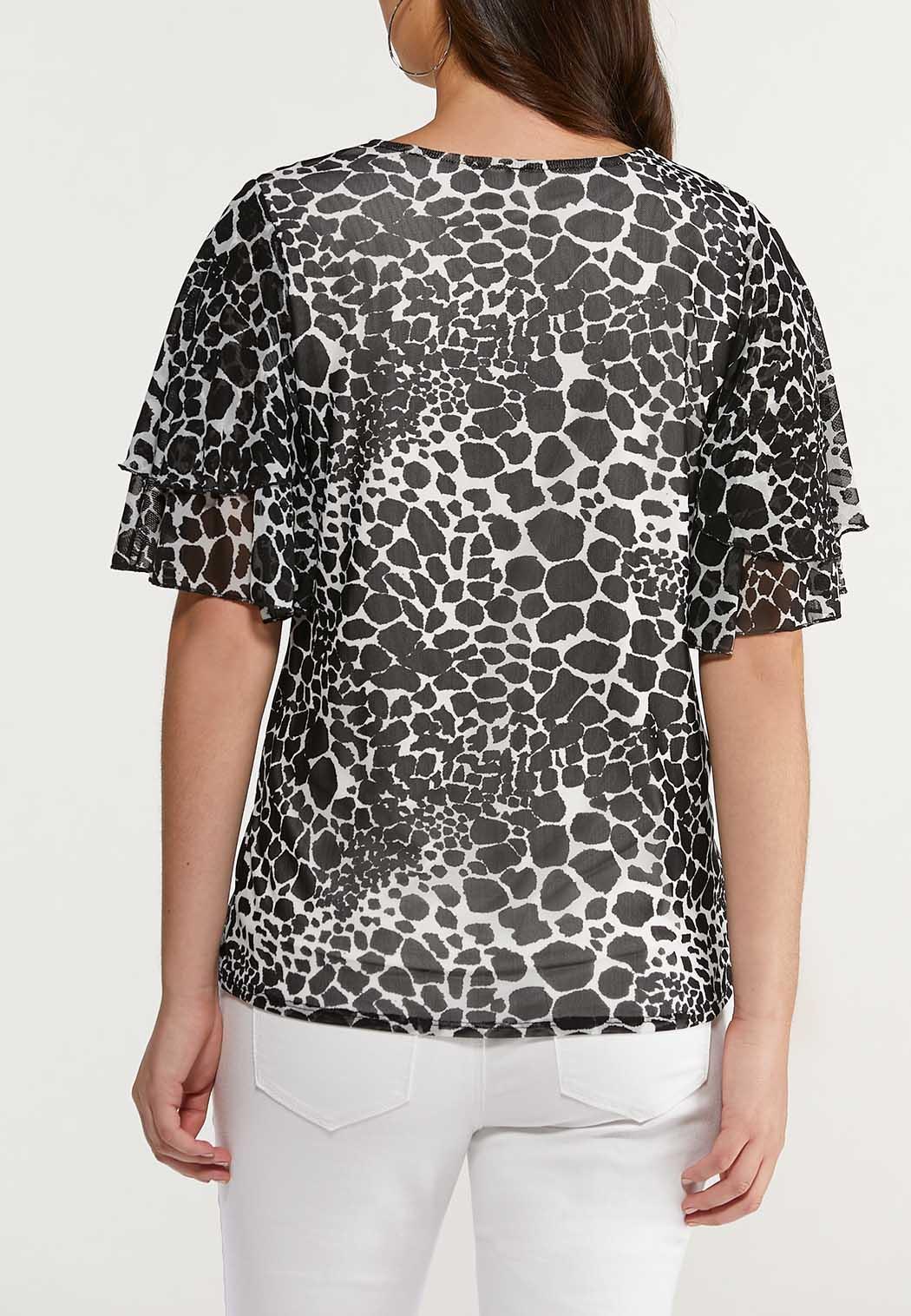 Plus Size Animal Flutter Sleeve Top (Item #44486759)