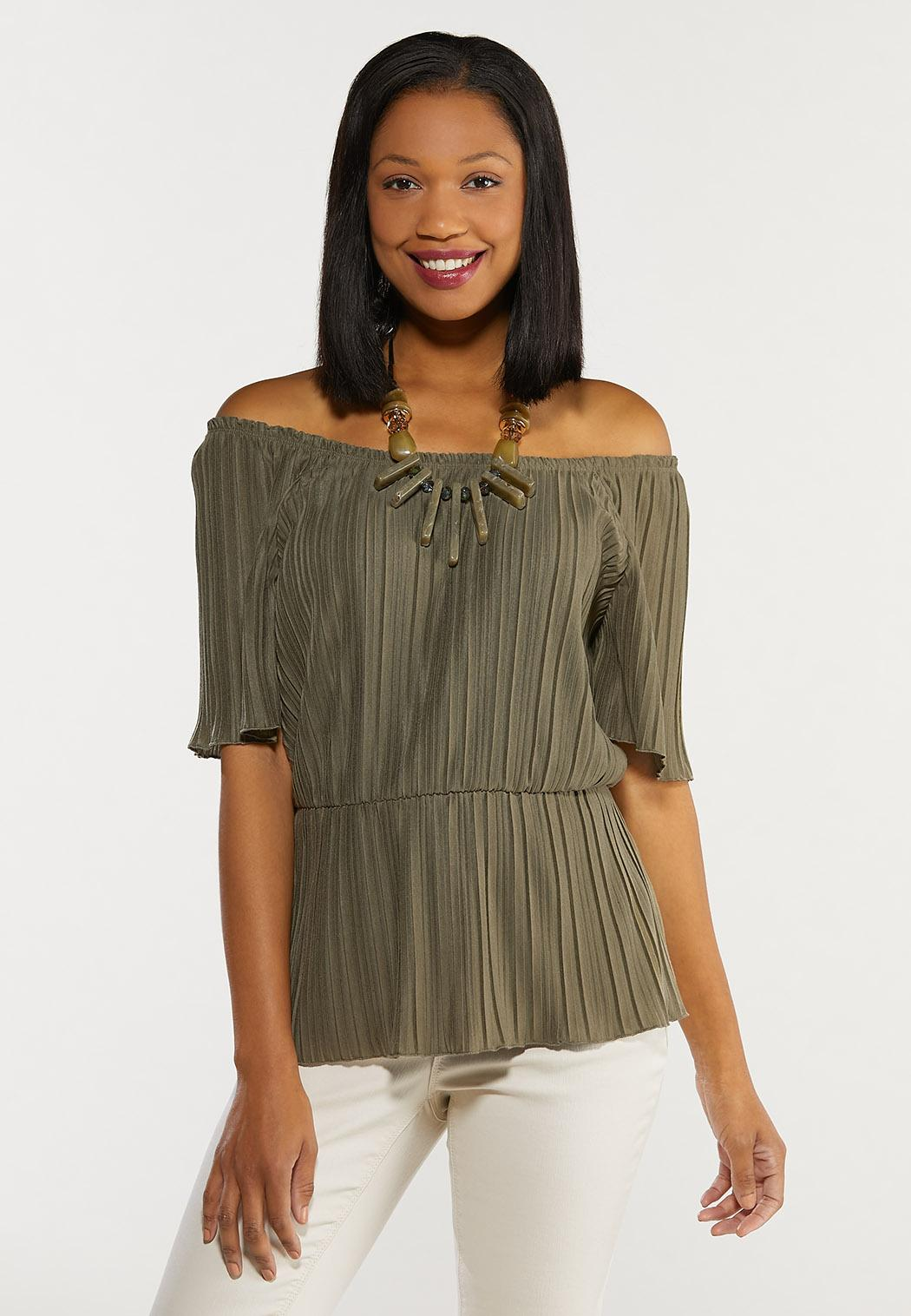Plus Size Pleated Peplum Top (Item #44486864)