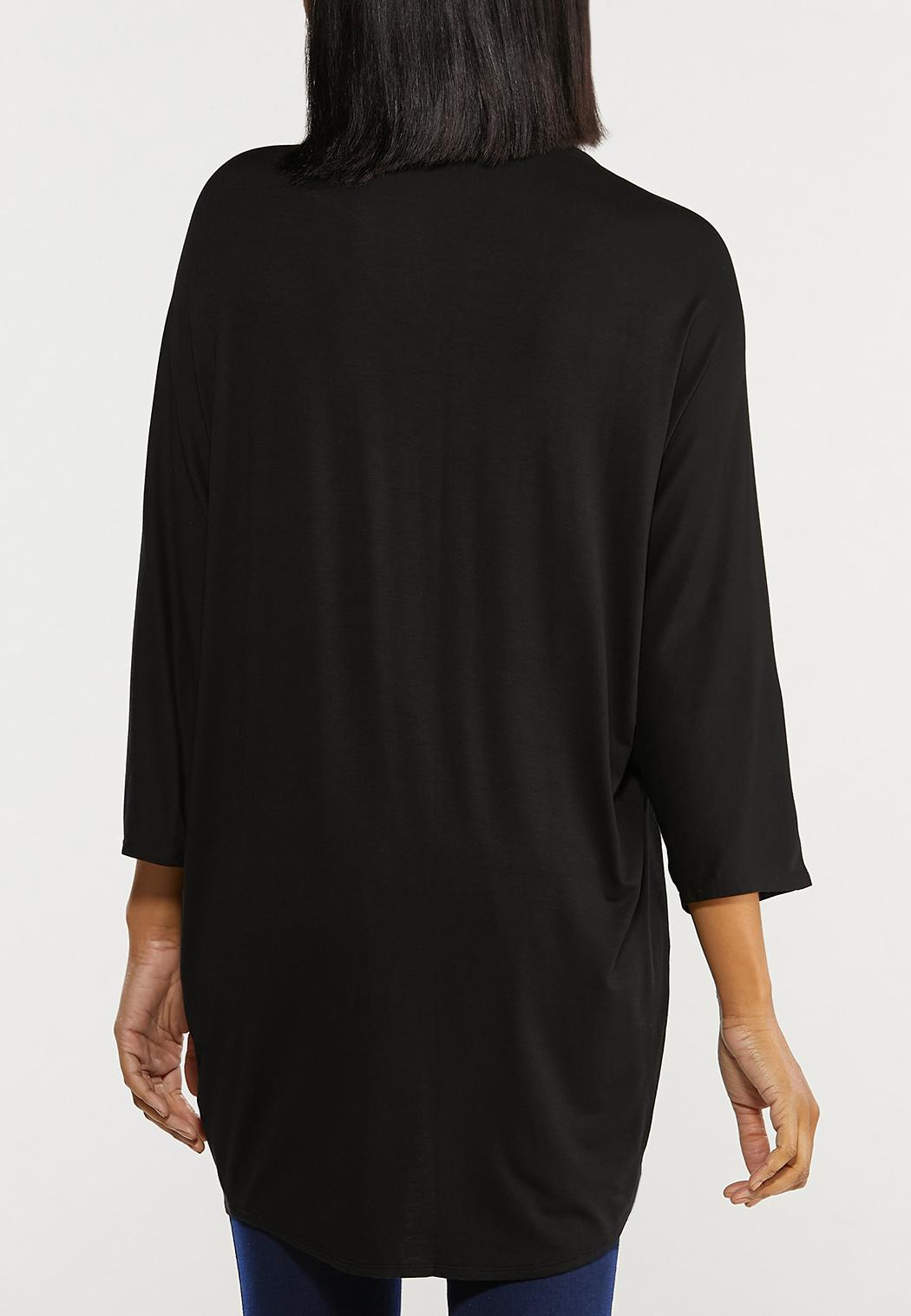 Plus Size Black Draped Cardigan (Item #44486911)