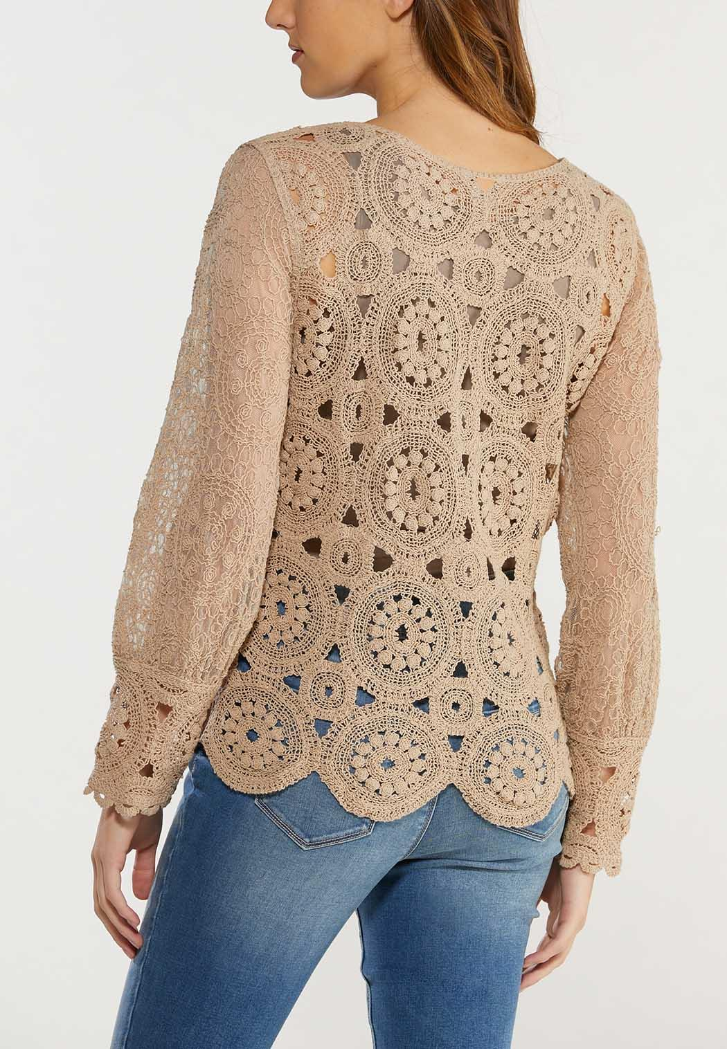 Plus Size Crochet Medallion Top (Item #44487330)