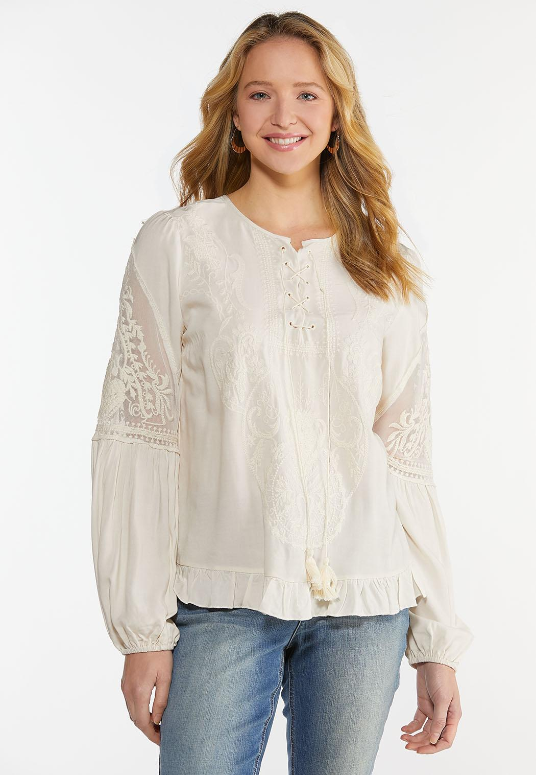 Plus Size Ivory Embroidered Top (Item #44487383)