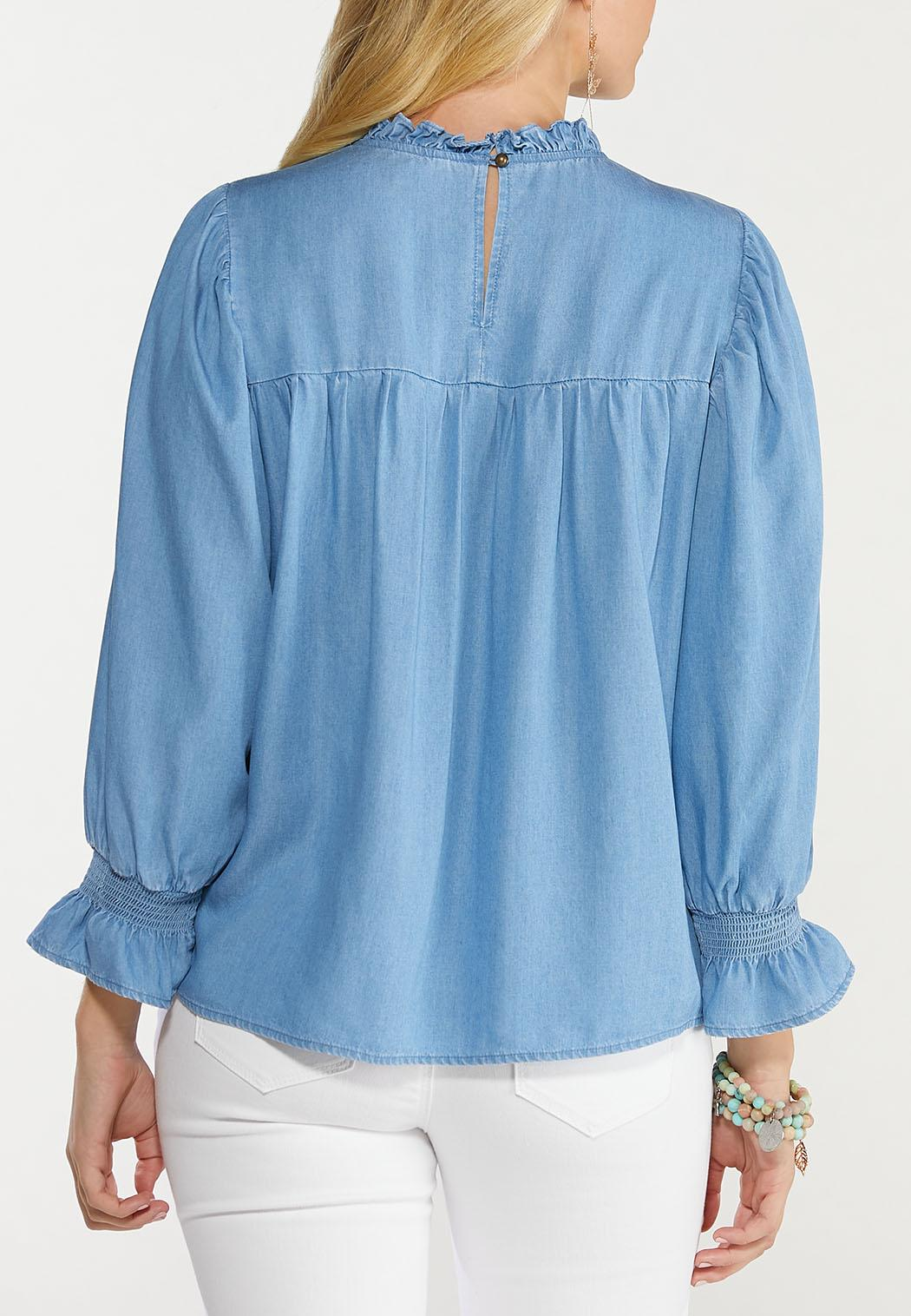 Chambray Ruffled Neck Top (Item #44487443)