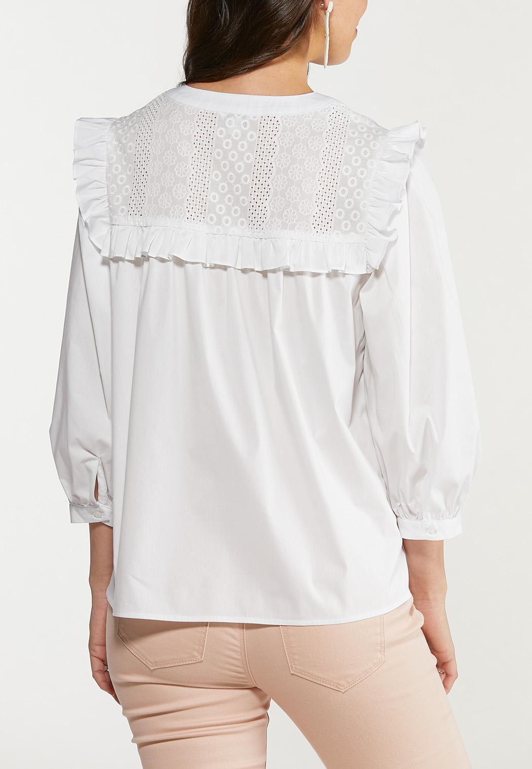White Ruffled Puff Sleeve Top (Item #44487688)