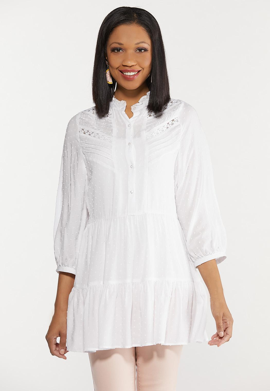 Plus Size Lace Inset Tiered Tunic (Item #44487747)