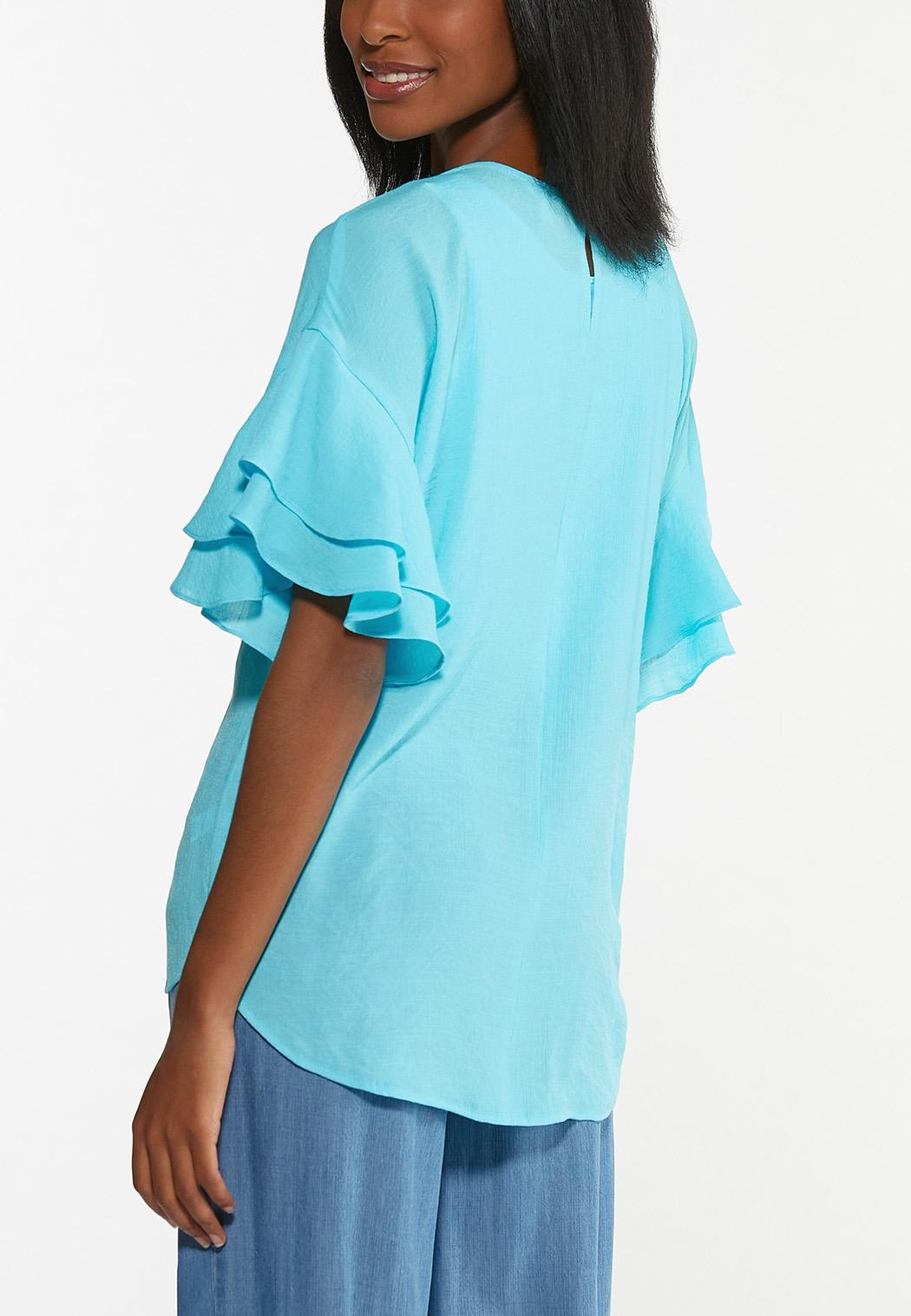 Plus Size Flouncy Sleeve Top (Item #44487896)
