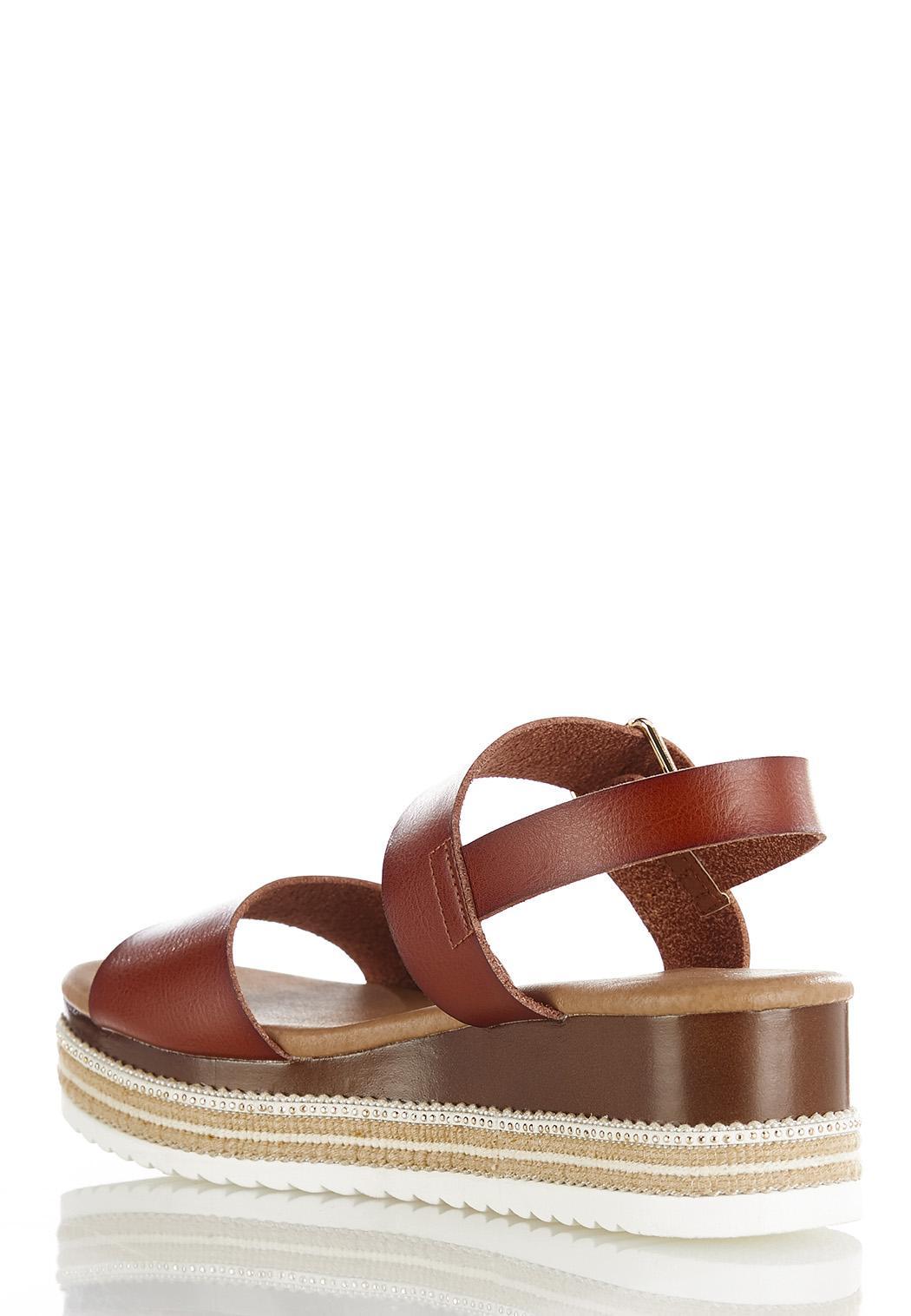 Cognac Flatform Wedge Sandals (Item #44487912)