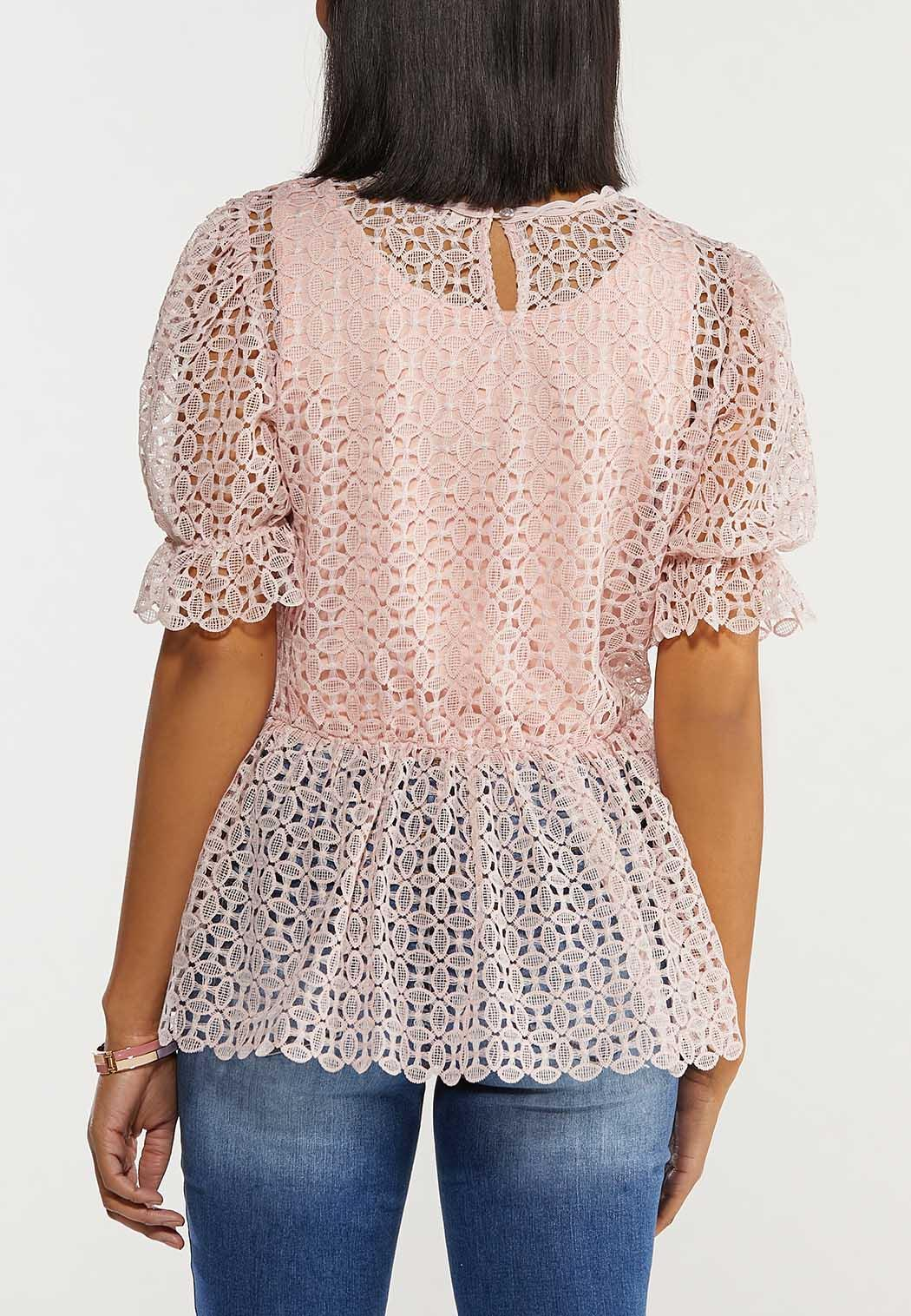 Plus Size Lacy Peplum Puff Sleeve Top (Item #44487944)