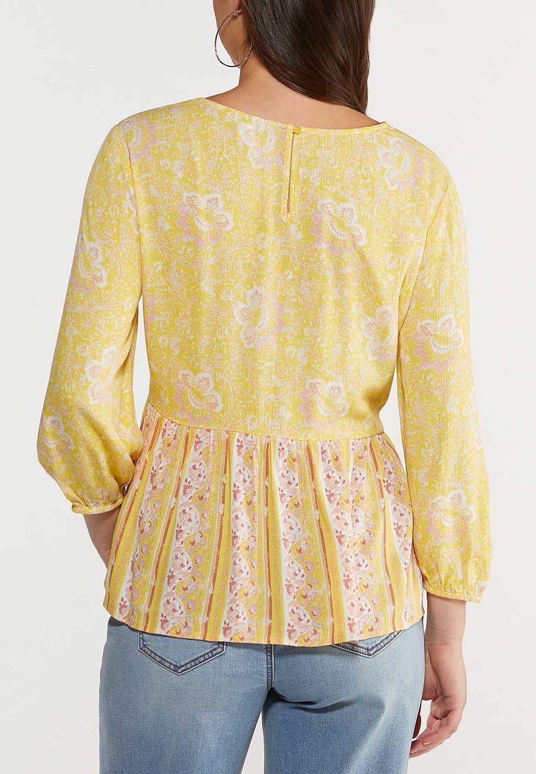 Plus Size Gold Floral Peplum (Item #44488082)