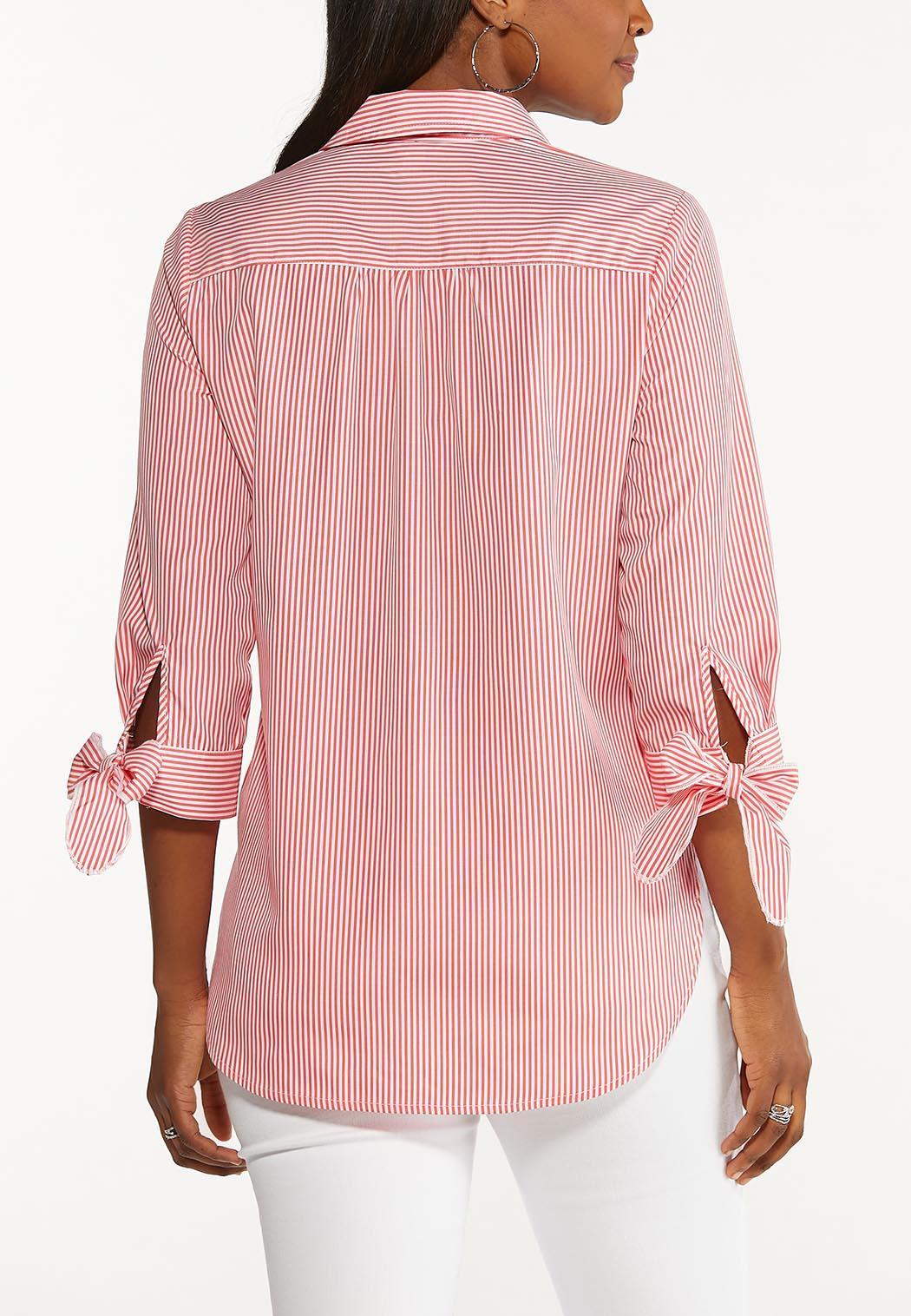 Plus Size Tie Sleeve Button Down Top (Item #44488338)