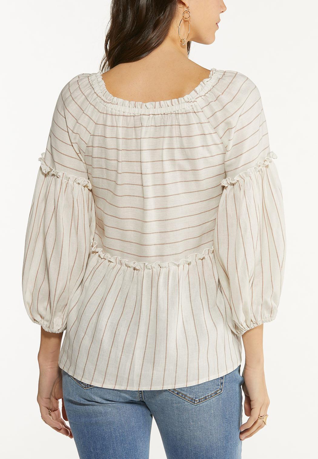 Plus Size Striped Linen Babydoll Top (Item #44488580)