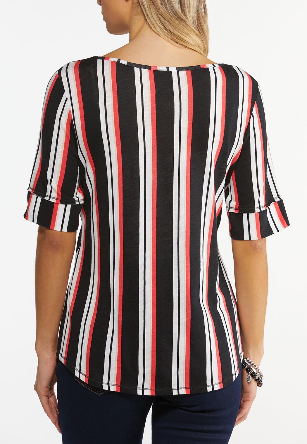 Striped Elbow Sleeve Top (Item #44488646)