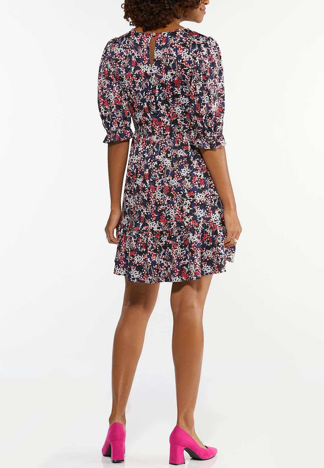 Plus Size Tiered Navy Floral Dress (Item #44488872)