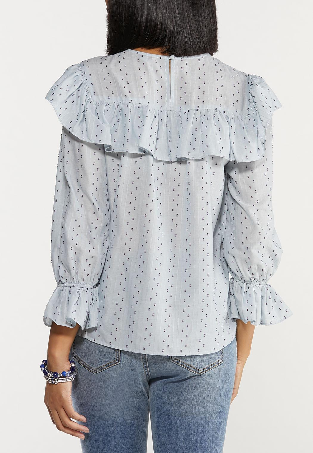 Plus Size Blue Dotted Top (Item #44488897)