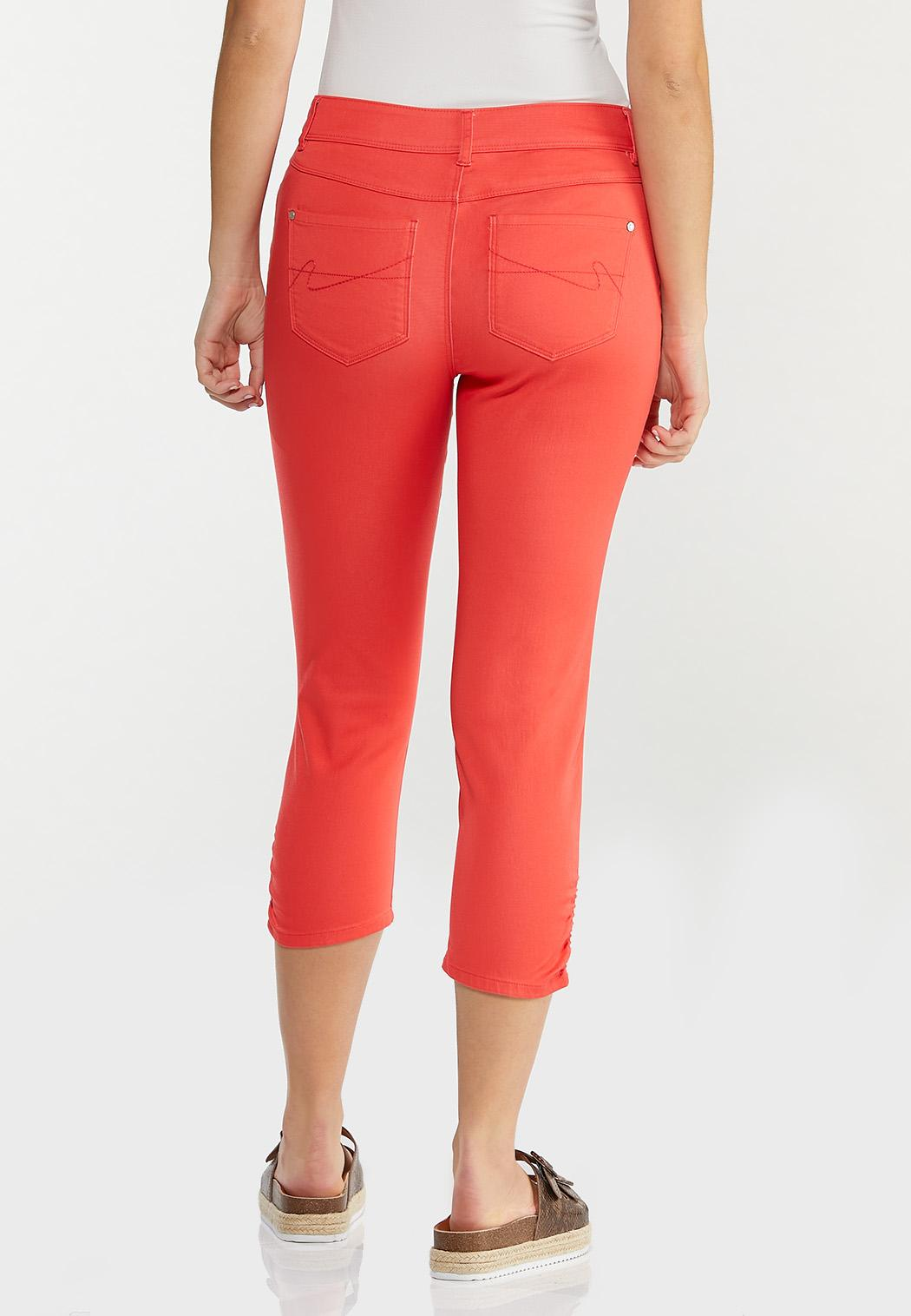 Cropped Ruched Colored Jeans (Item #44488899)