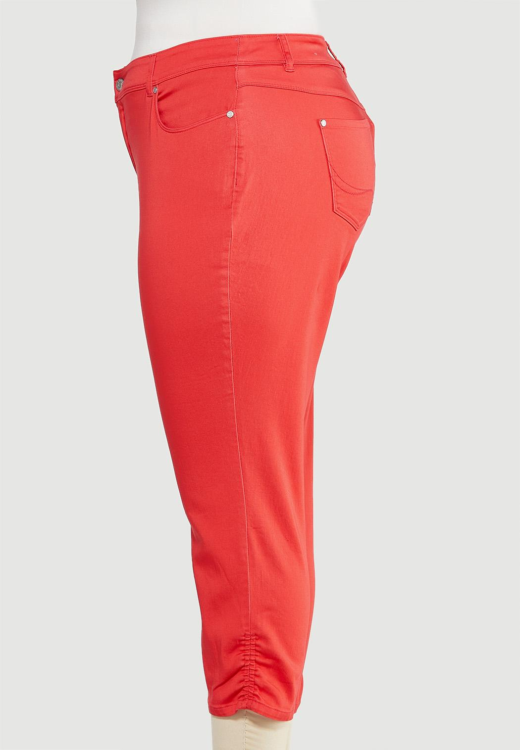 Plus Size Cropped Ruched Colored Jeans (Item #44488953)