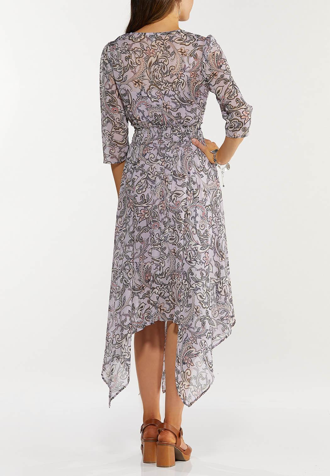 Plus Size Smocked Paisley Hanky Hem Dress (Item #44489179)