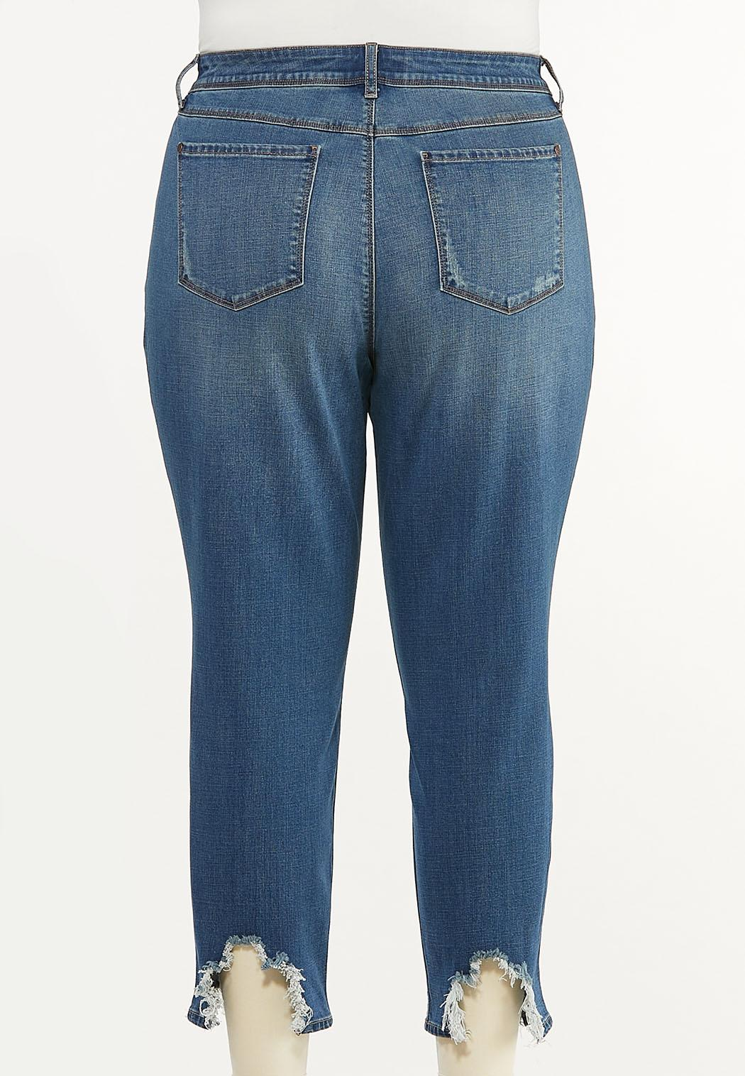 Plus Size Distressed Embroidered Jeans (Item #44489433)