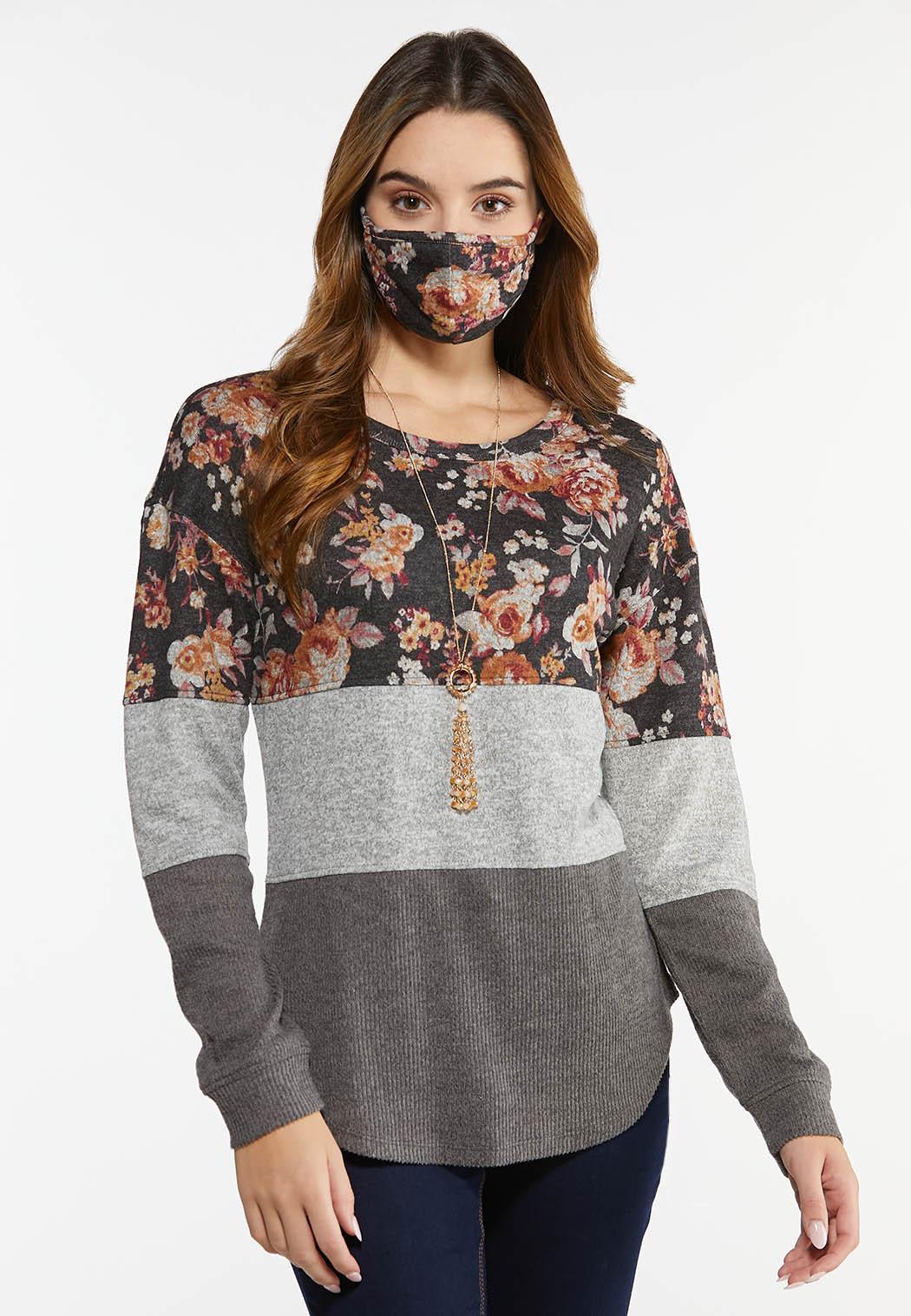 Plus Size Floral Colorblock Top Mask Set (Item #44489792)