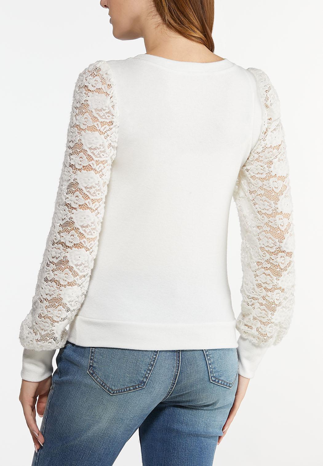 Plus Size Lace Sleeve Hacci Top (Item #44490200)