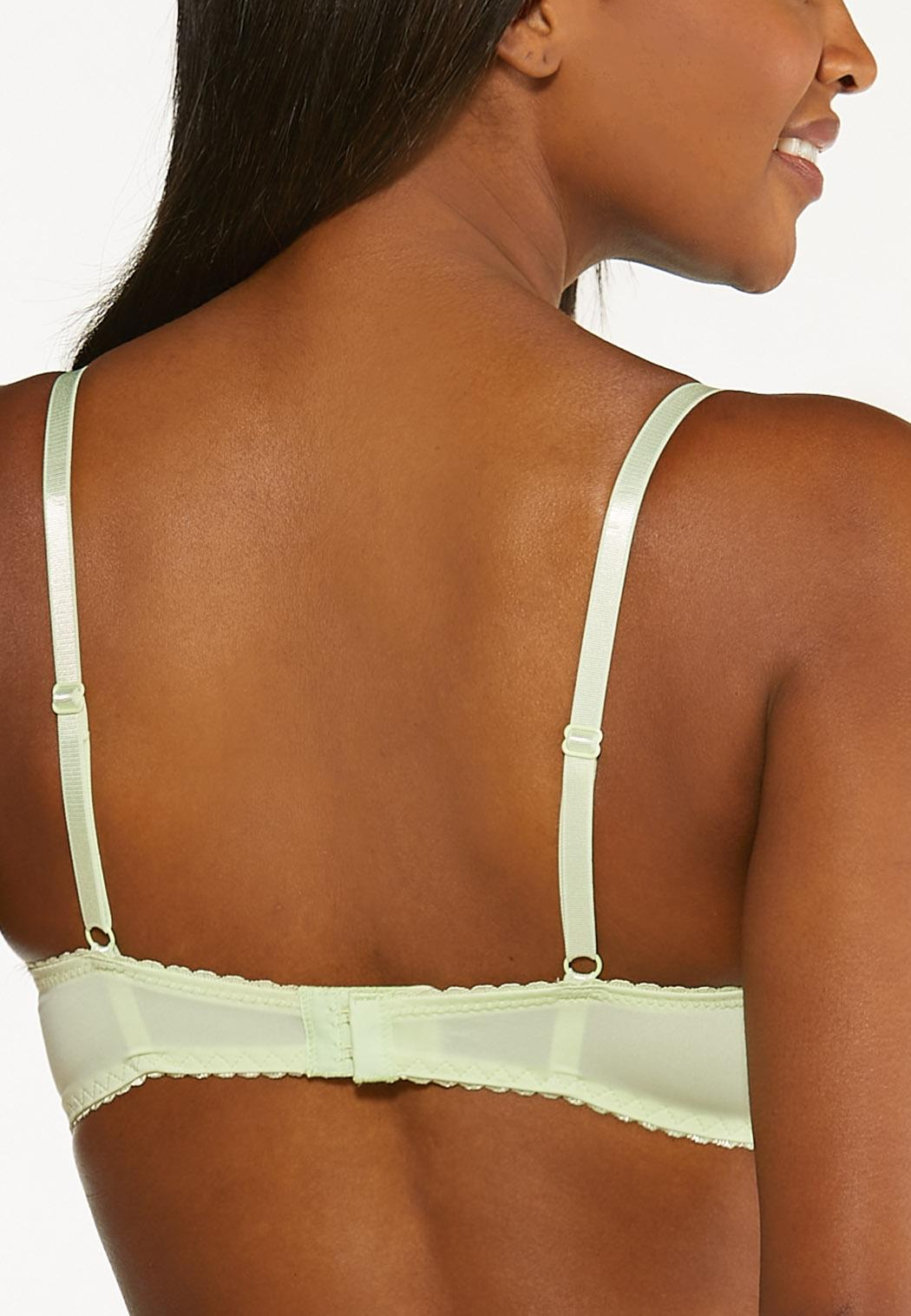 Plus Size Gray And Green Lace Bra Set (Item #44491076)