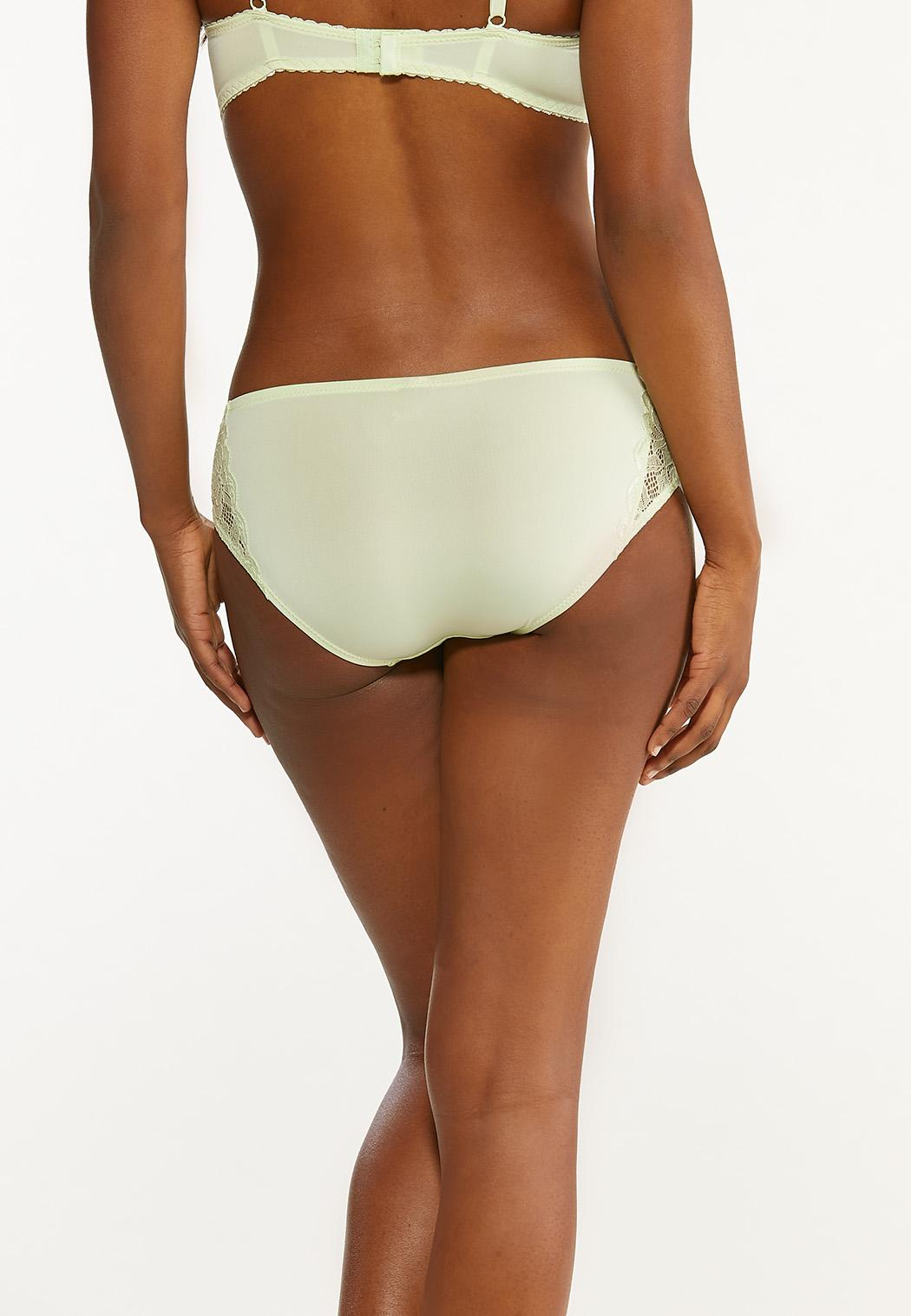 Plus Size Gray And Green Lace Panty Set (Item #44491097)