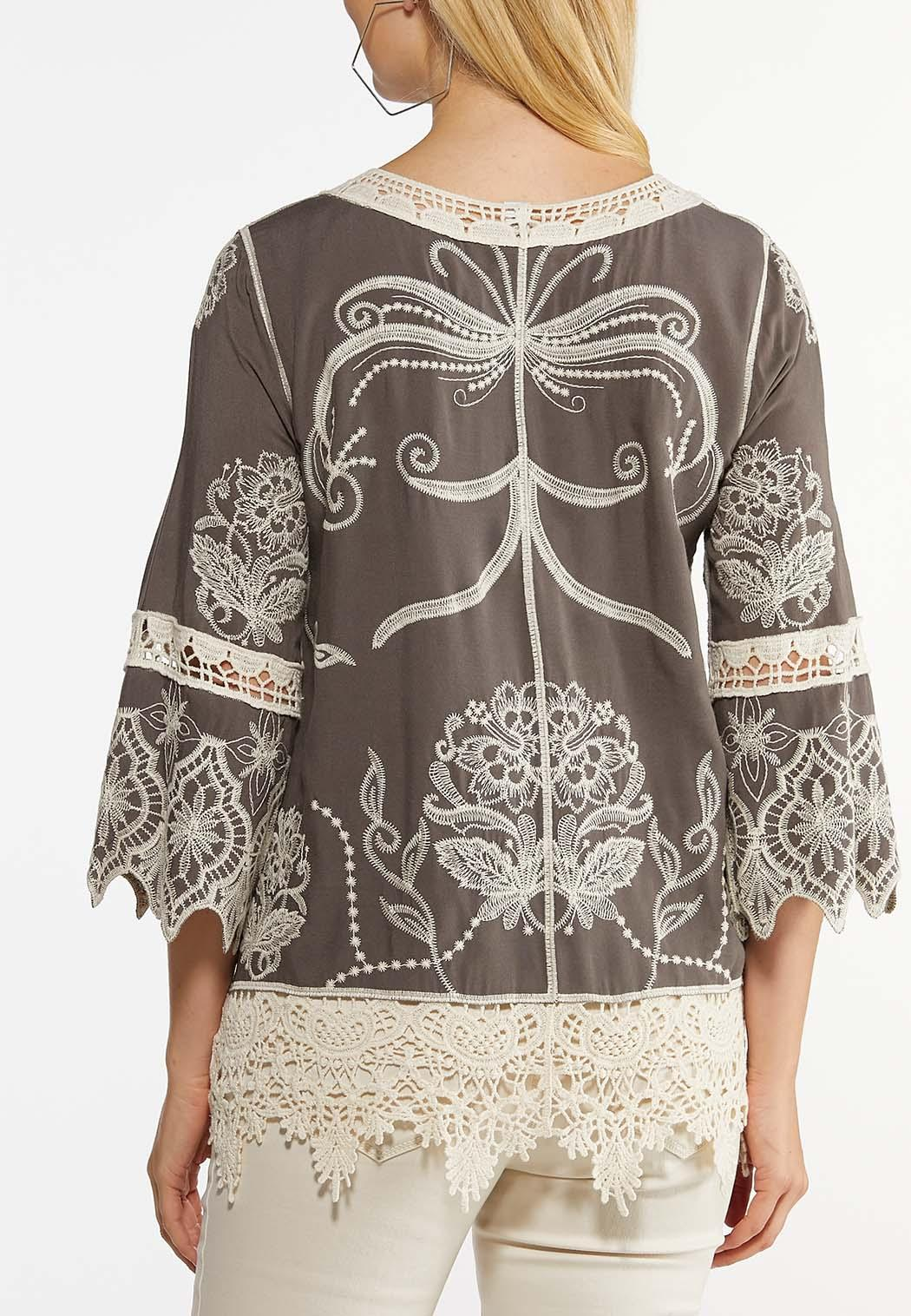 Plus Size Embroidered Bell Sleeve Top (Item #44491379)